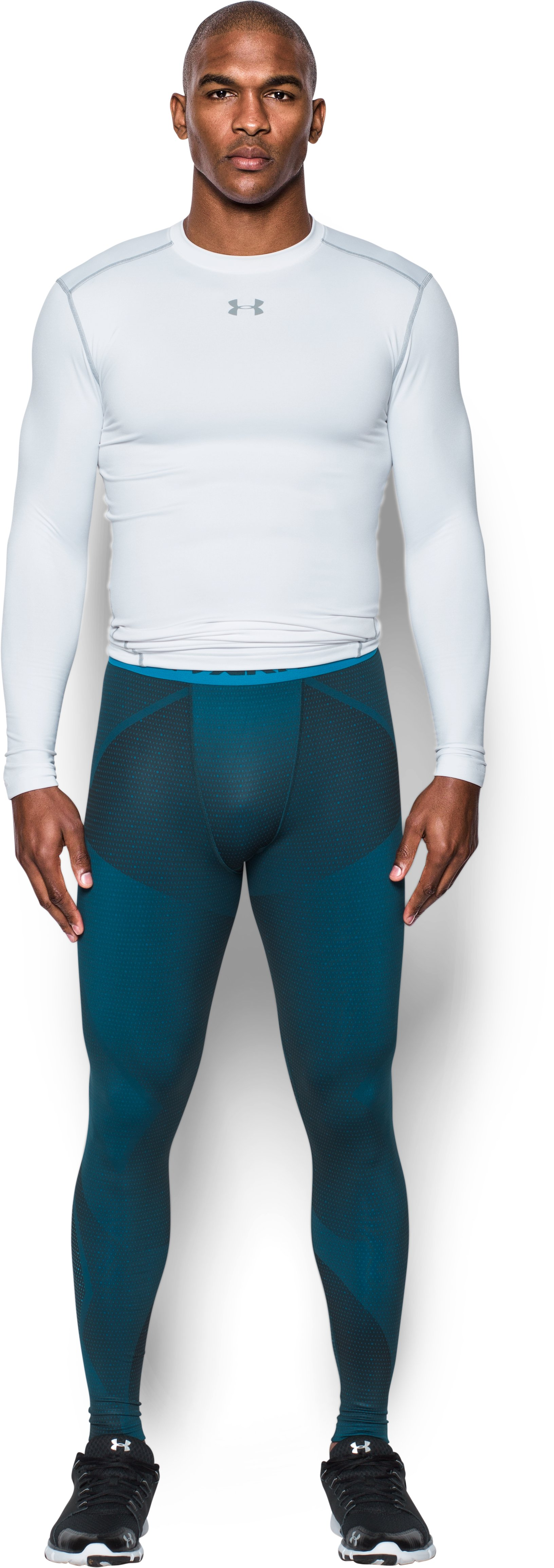 Men's ColdGear® Armour Sublimated Leggings, NOVA TEAL, Front