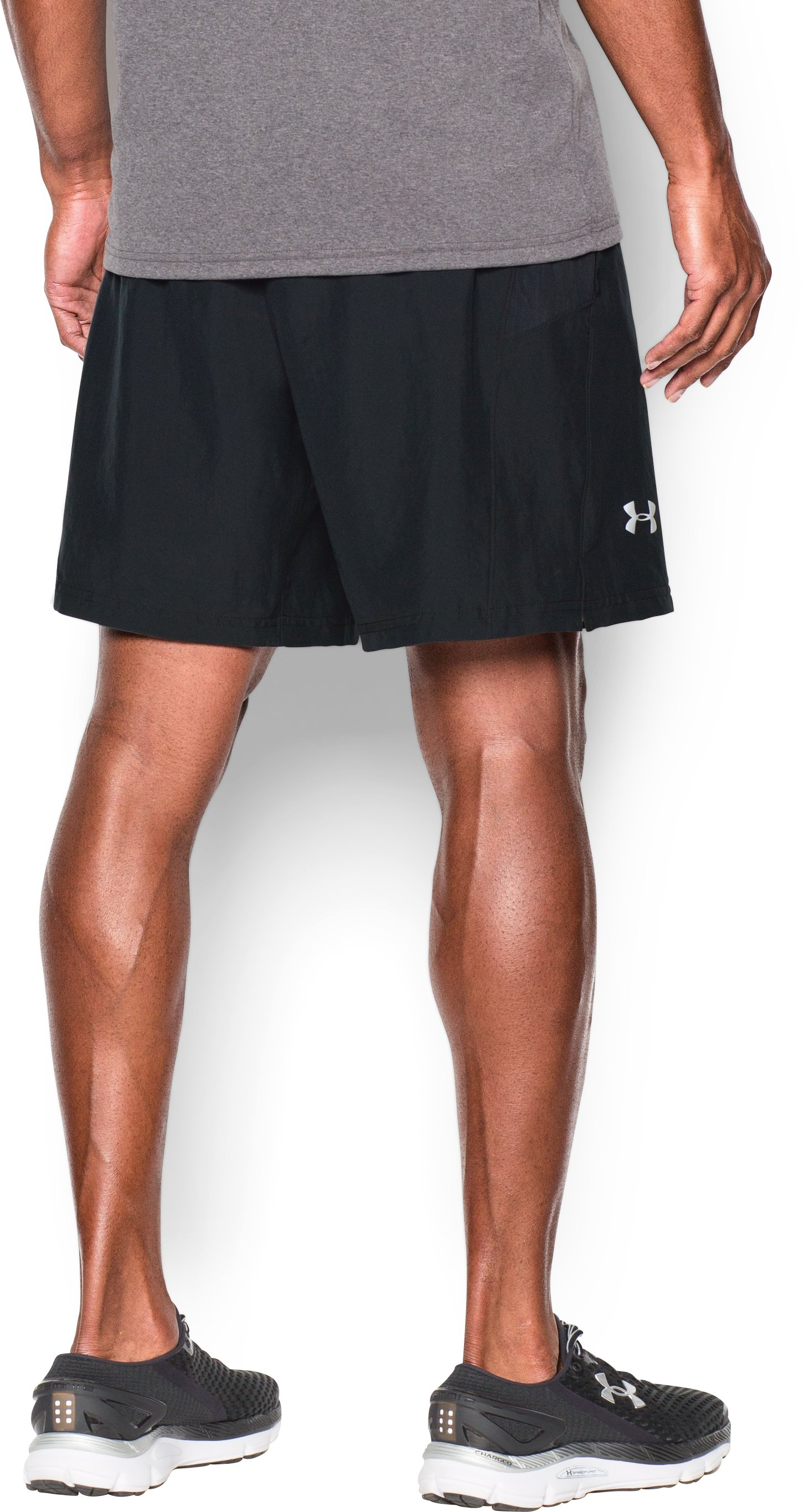 Men's UA Launch Run 2-in-1 Shorts, Black , undefined