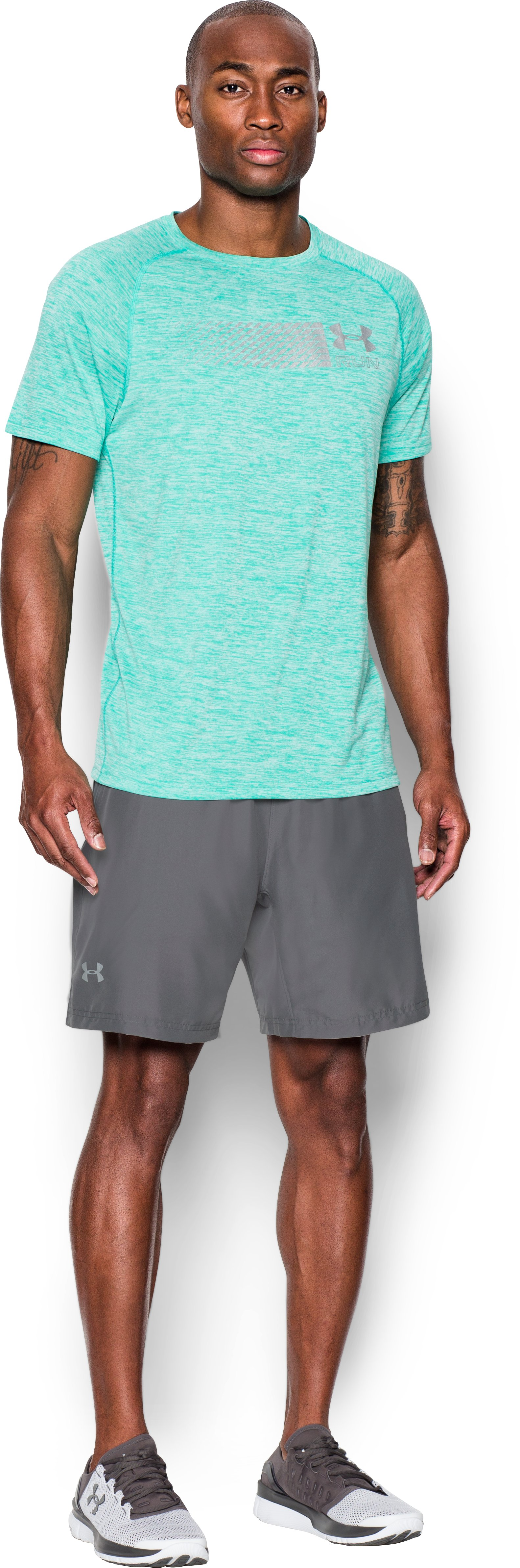 Men's UA Launch Run 2-in-1 Shorts, Graphite, Front