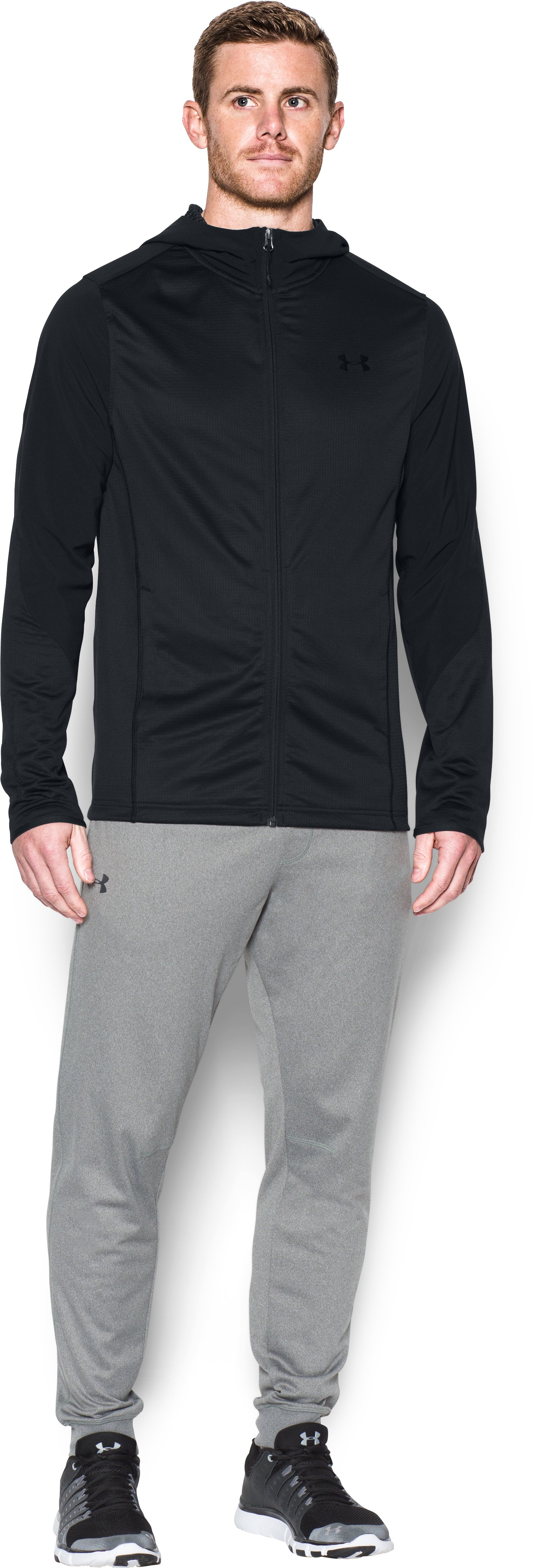 Men's UA ColdGear® Infrared Grid Fitted Hoodie, Black , Front