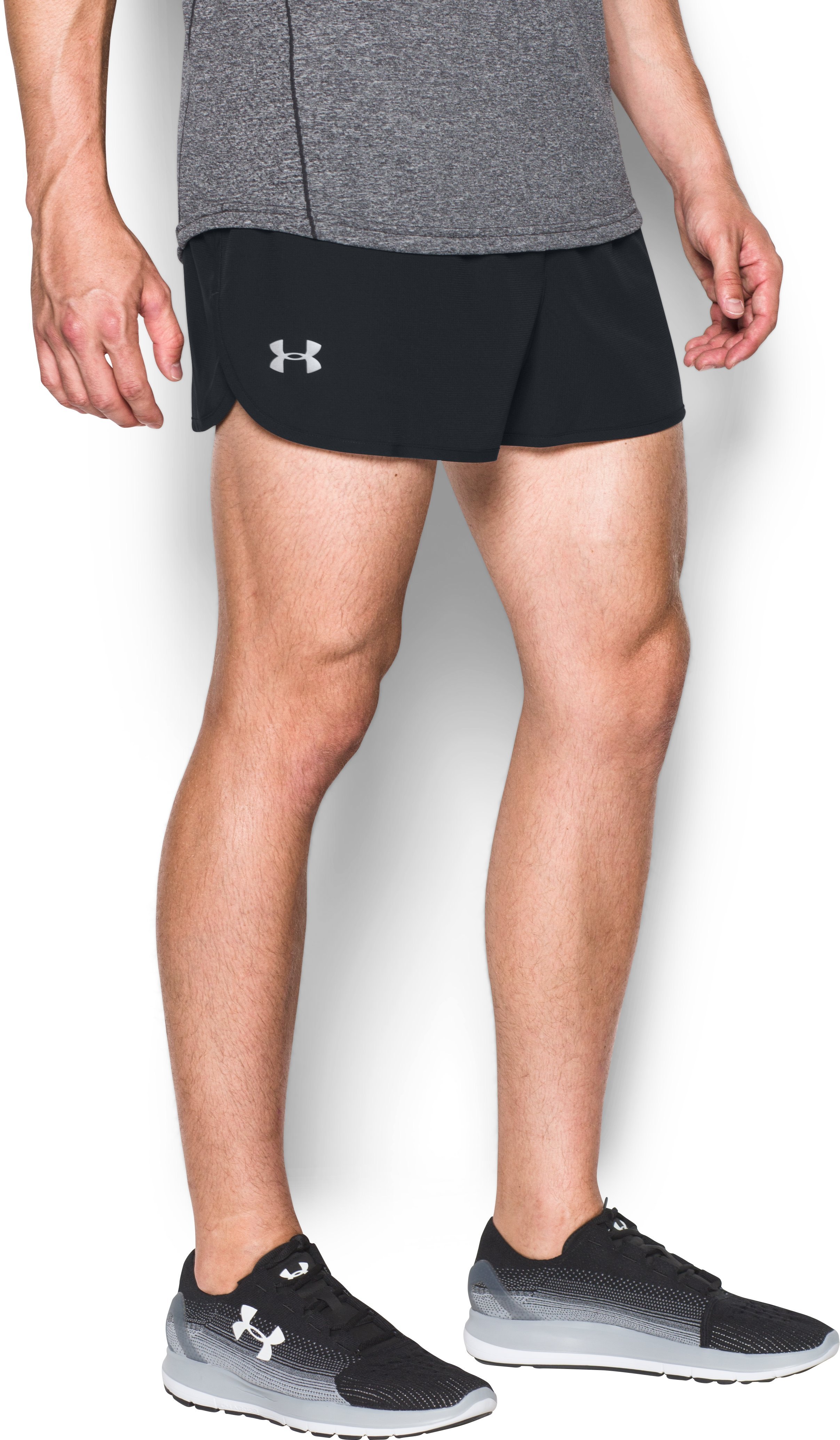 Men's UA Performance Run Split Shorts, Black , zoomed image