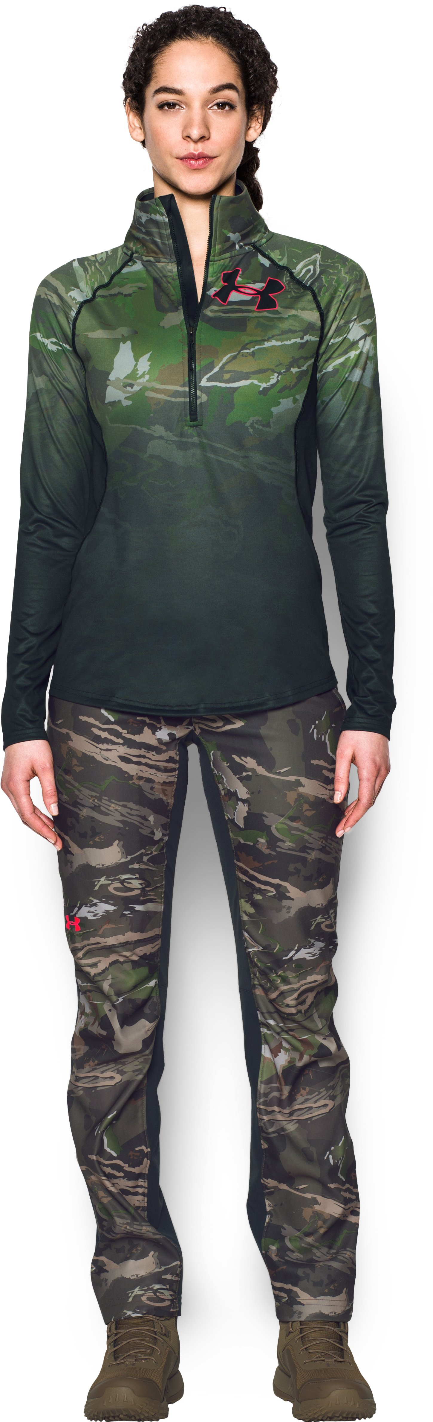 Women's Under Armour® Scent Control Tech ¼ Zip, RIDGE REAPER® FOREST, Front
