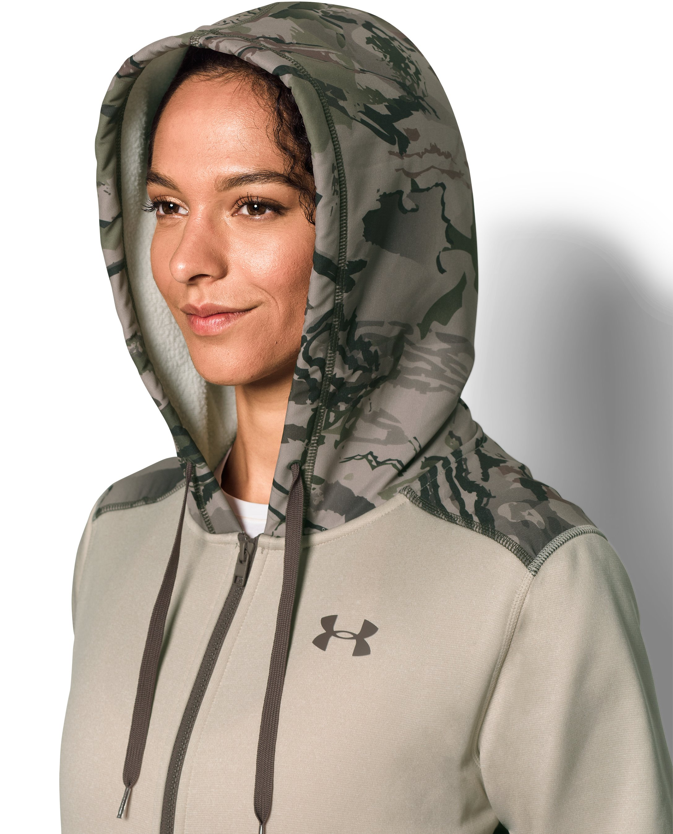 Women's UA Logo Caliber Full Zip Hoodie, Oatmeal Heather