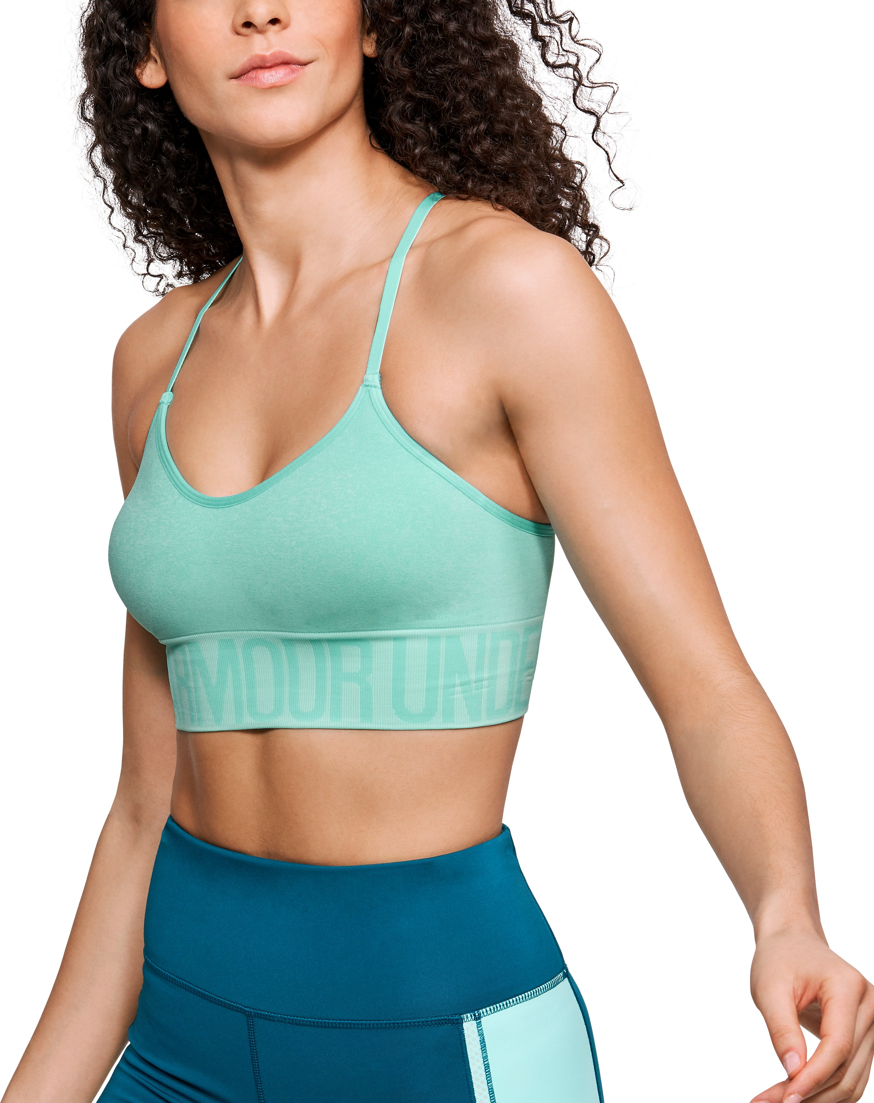 Women's Armour® Seamless Ombre Printed Sports Bra, TROPICAL TIDE