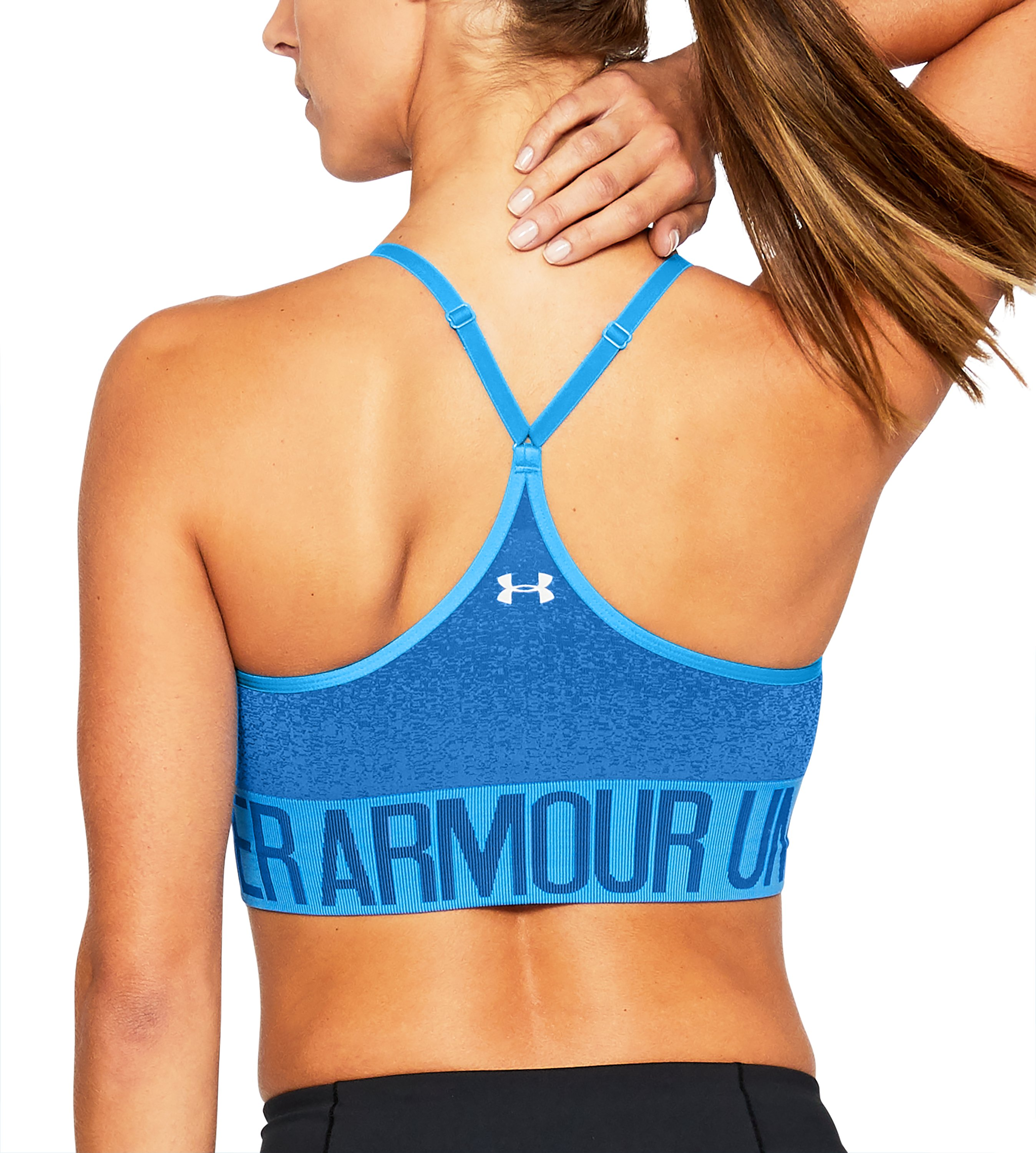 Women's Armour® Seamless Ombre Printed Sports Bra, MAKO BLUE