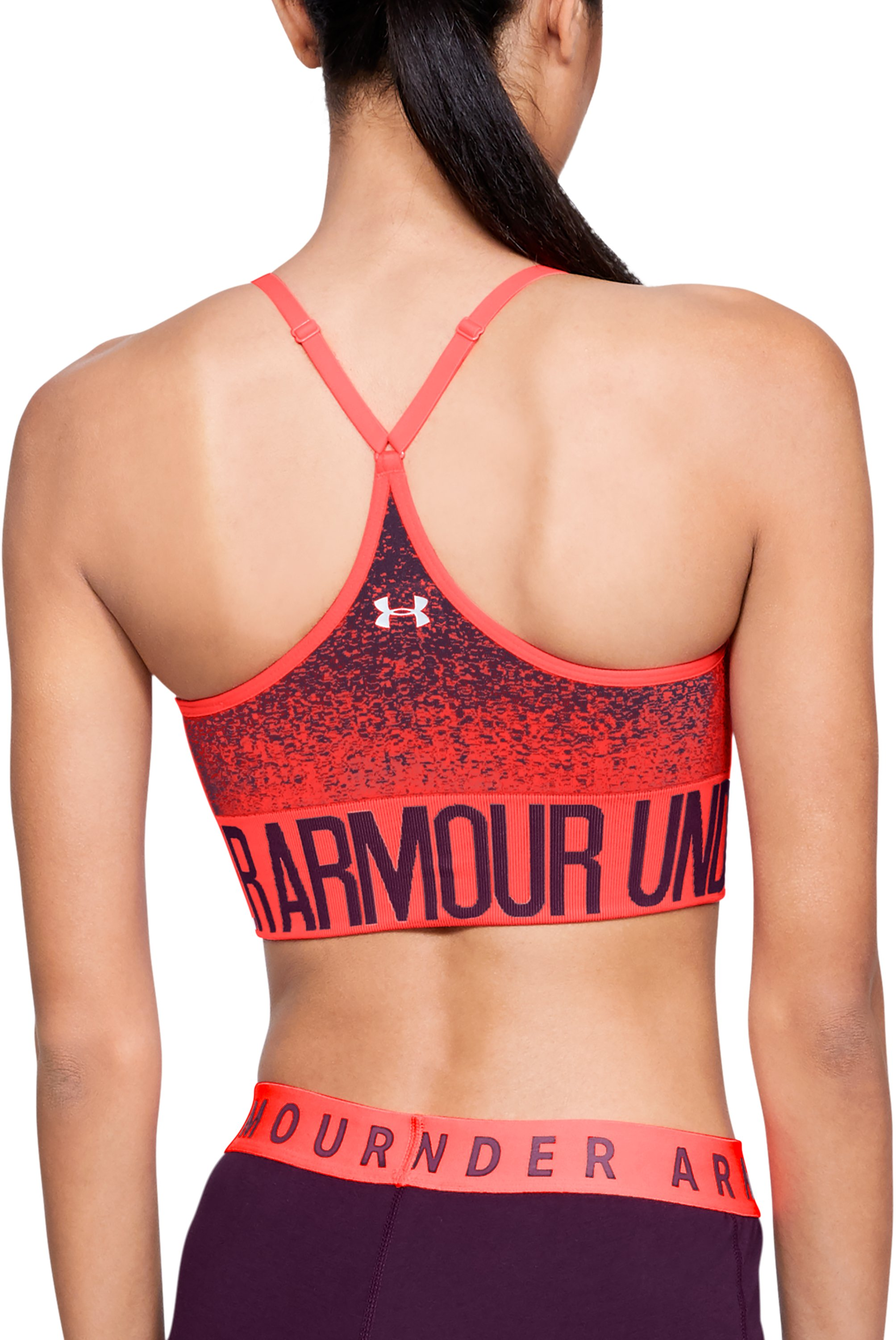 Women's Armour® Seamless Ombre Printed Sports Bra, NEON CORAL,