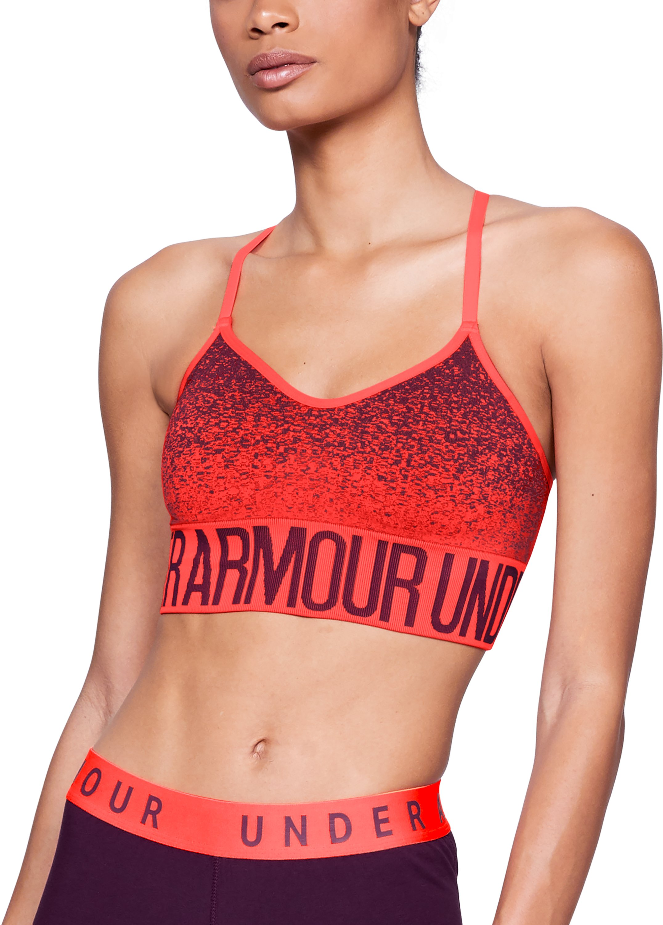 Women's Armour® Seamless Ombre Printed Sports Bra, NEON CORAL, undefined