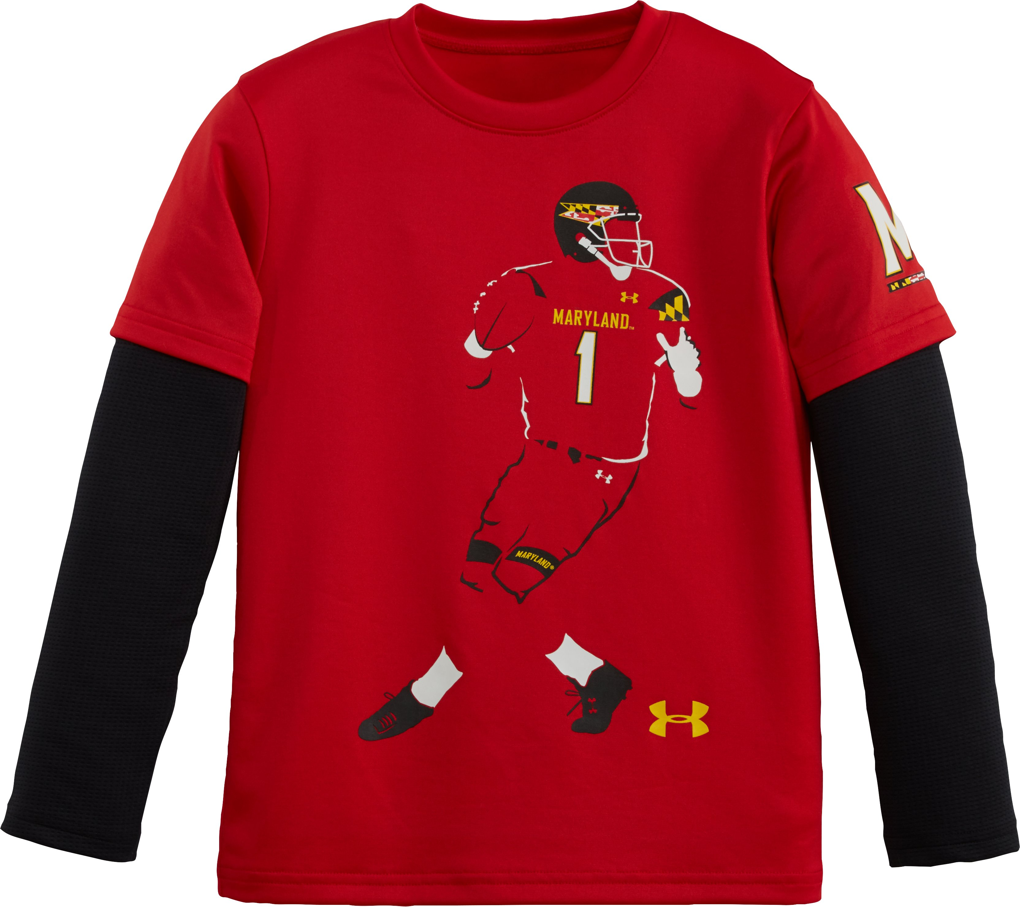 Boys' Pre-School Maryland Football Player Slider, Red, zoomed image