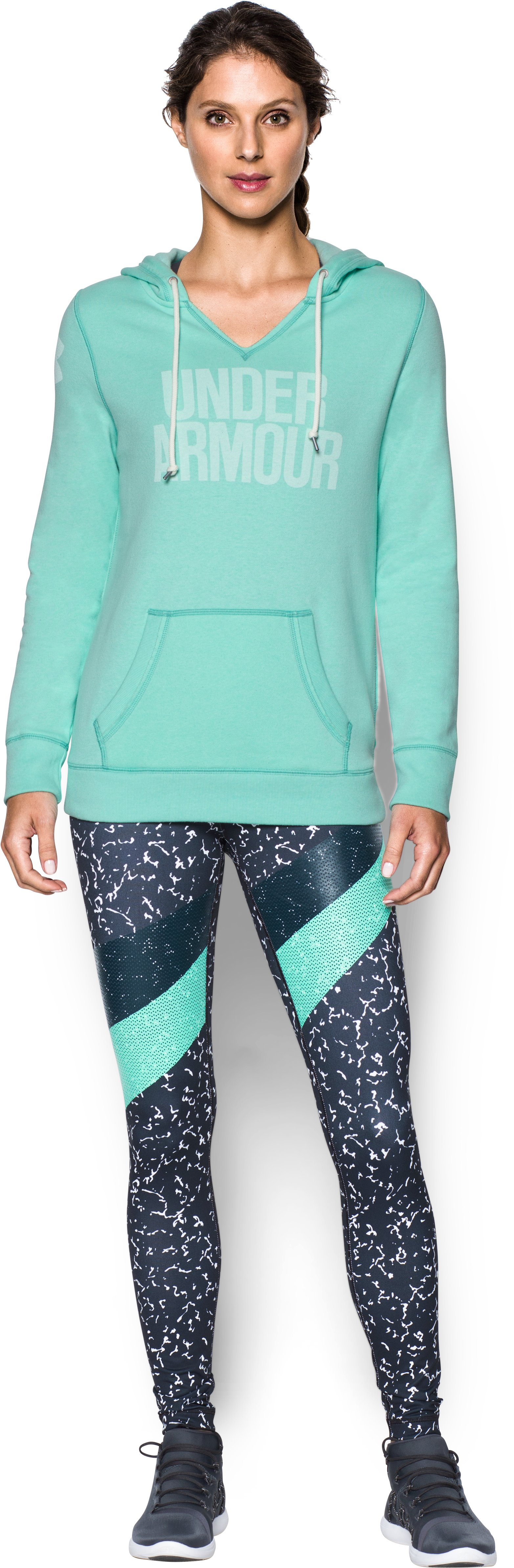 Women's UA Favorite Fleece Word Mark Popover, CRYSTAL, Front