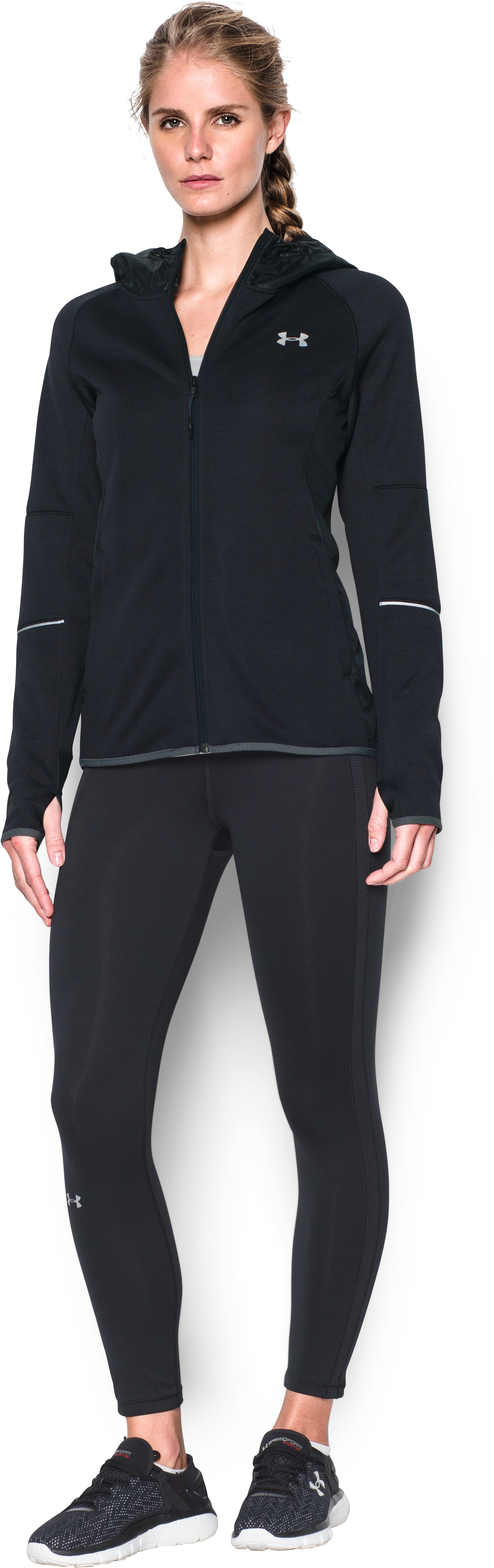 Women's UA Storm Swacket Full Zip, Black , Front