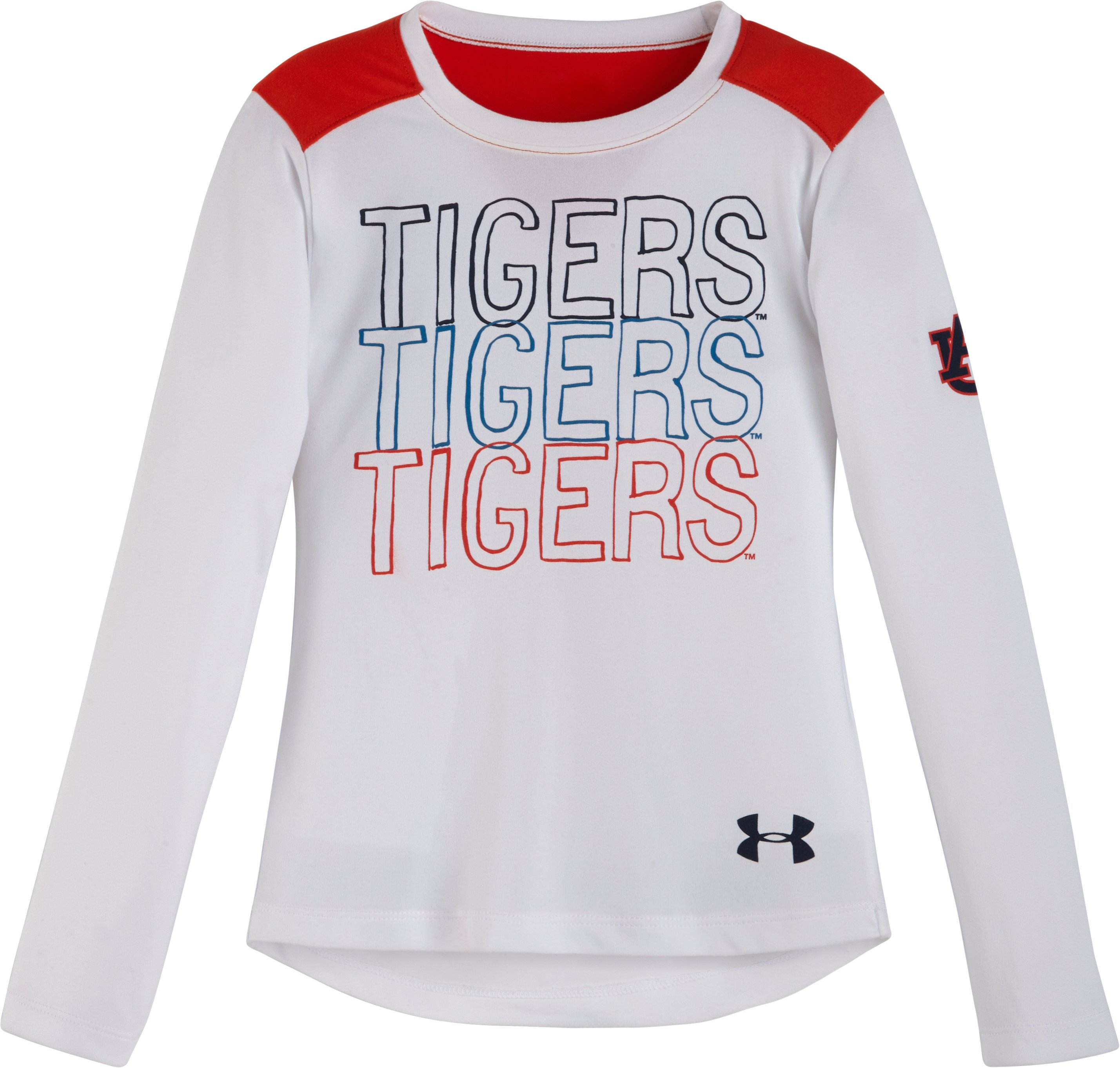 Girls' Toddler Auburn Tigers Long Sleeve, White, Laydown