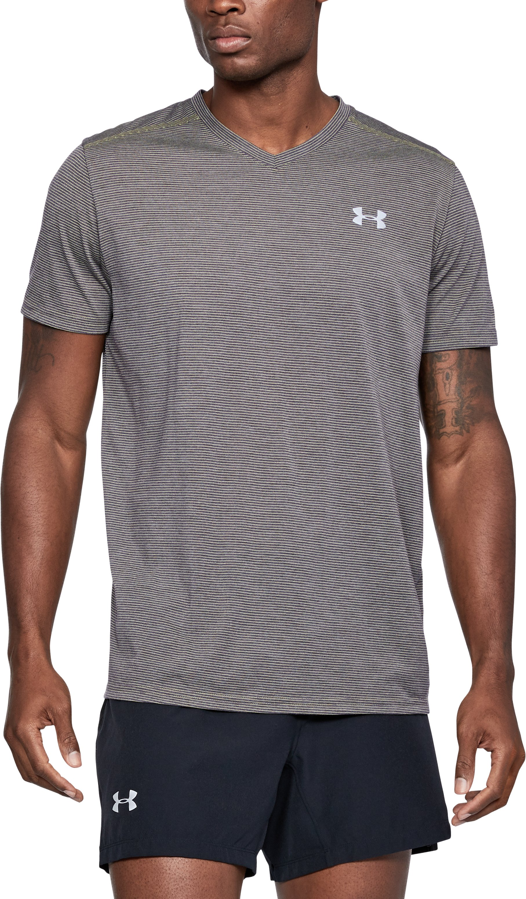 Men's UA Threadborne Streaker V-Neck, CHARCOAL LIGHT HEATHER,
