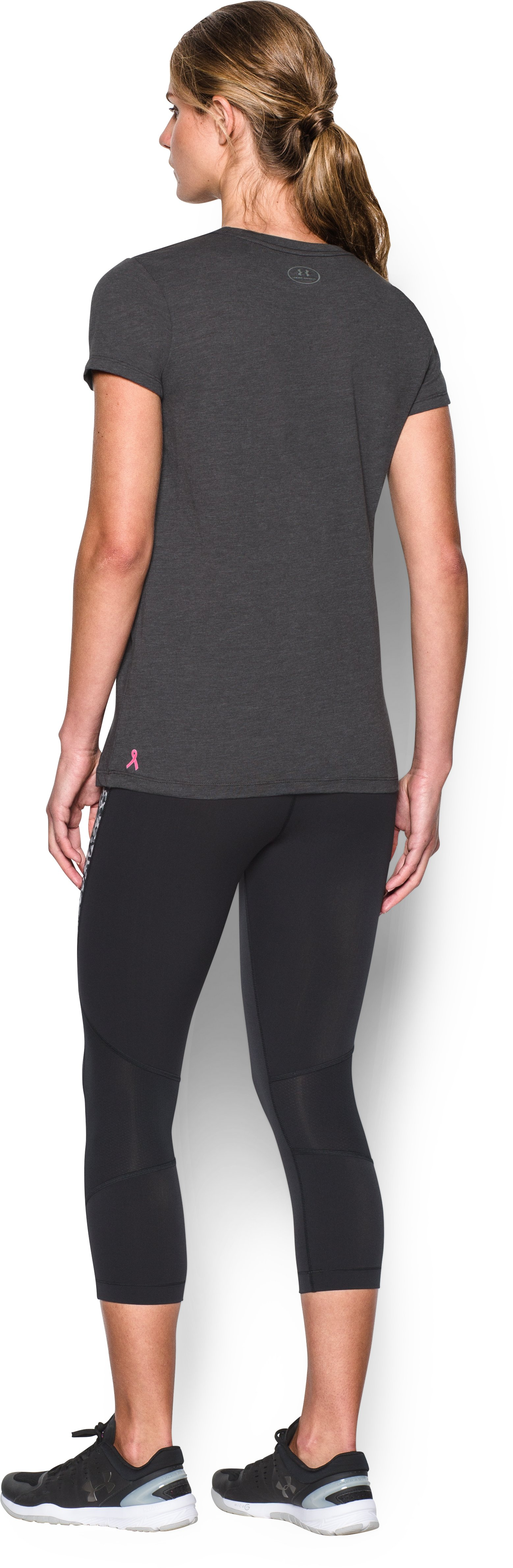 UA Power In Pink® Charged Cotton® Tri-Blend Show Your Power Crew, Carbon Heather, Back