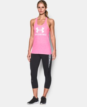 UA Power In Pink® Charged Cotton® Tri-Blend Big Logo Tank