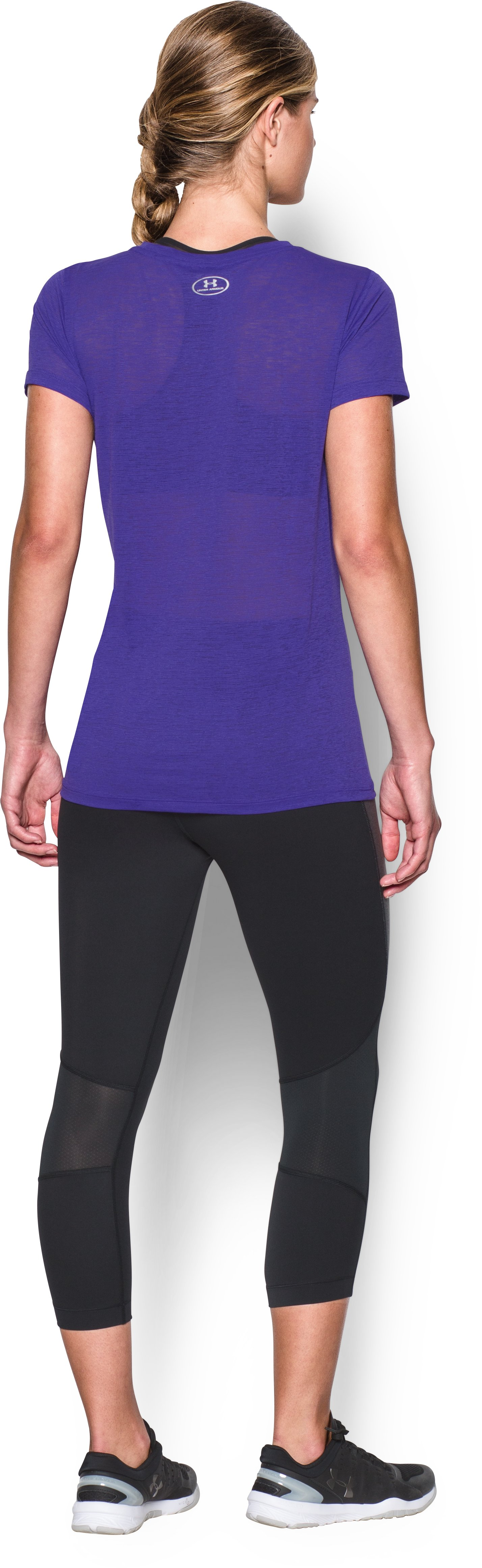 Women's UA Tech™ Slub T-Shirt, DEEP ORCHID, Back