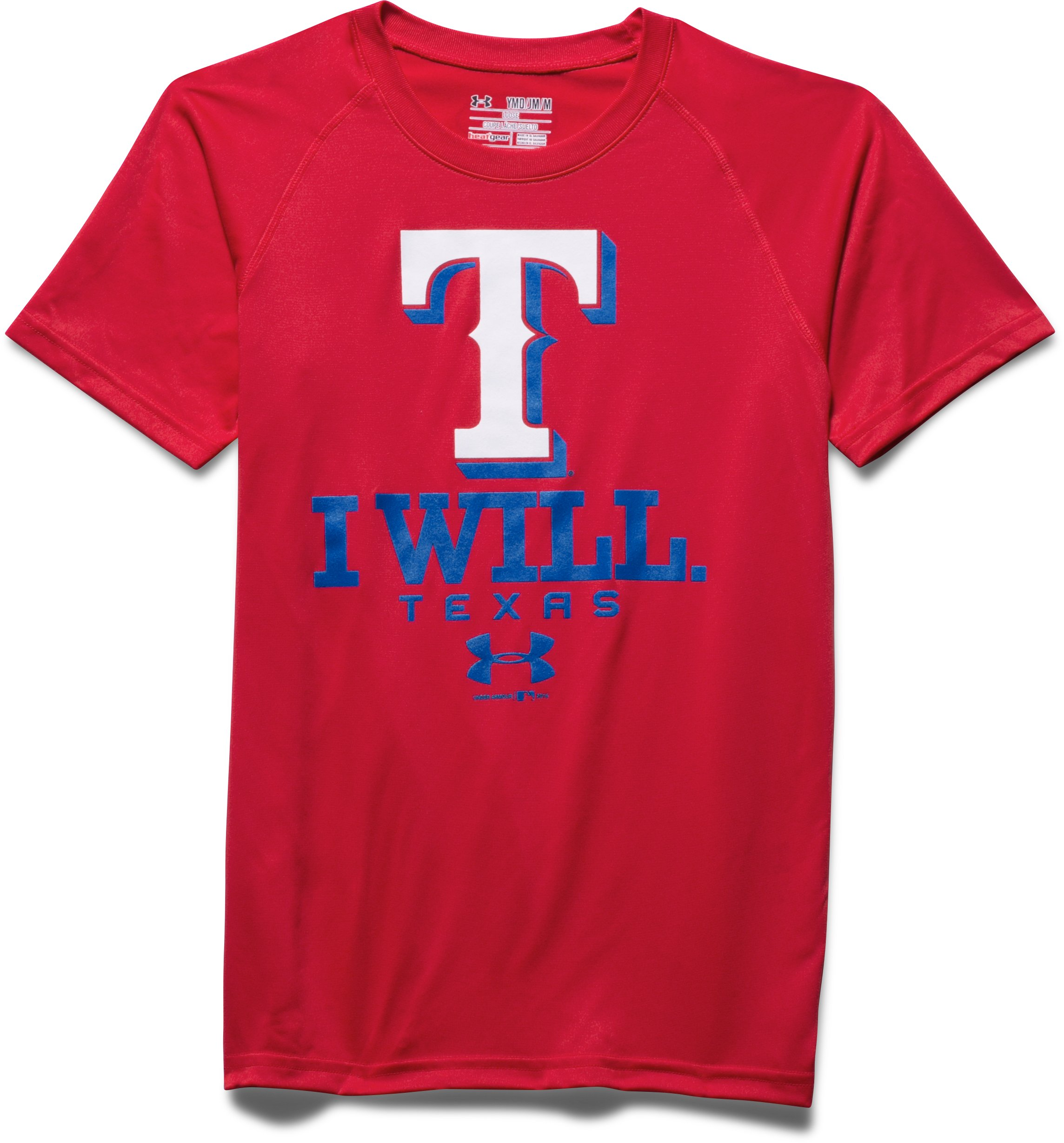 Boys' Texas Rangers I Will UA Tech™ T-Shirt, Red, Laydown