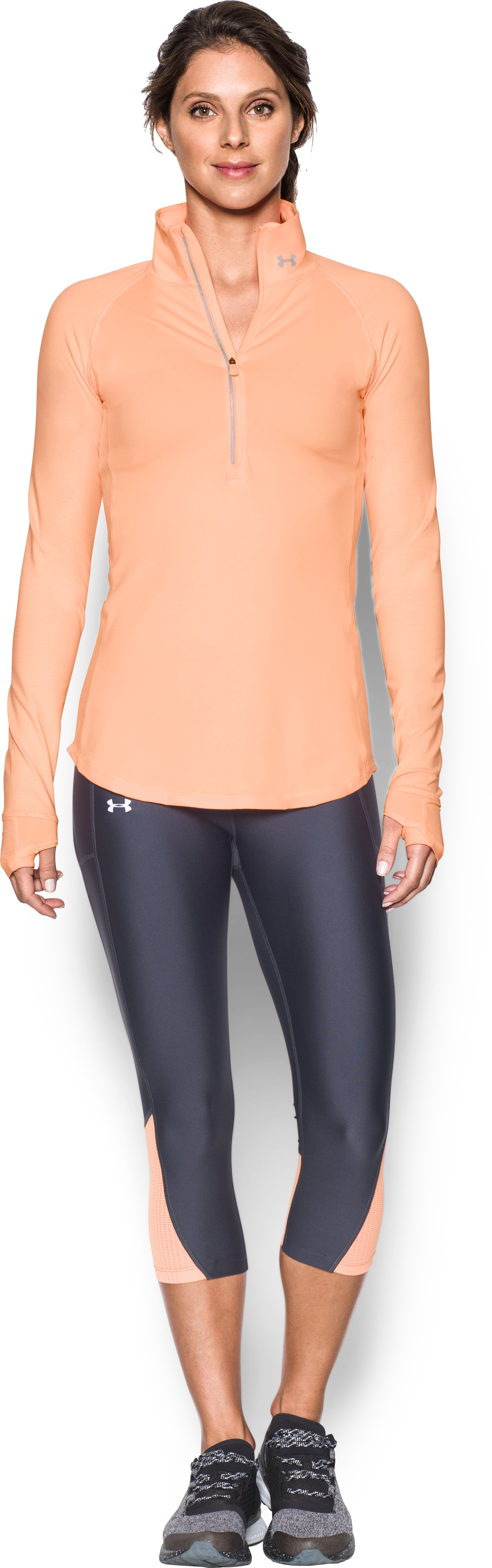 Women's UA Threadborne Run True 1/2 Zip, PLAYFUL PEACH, Front