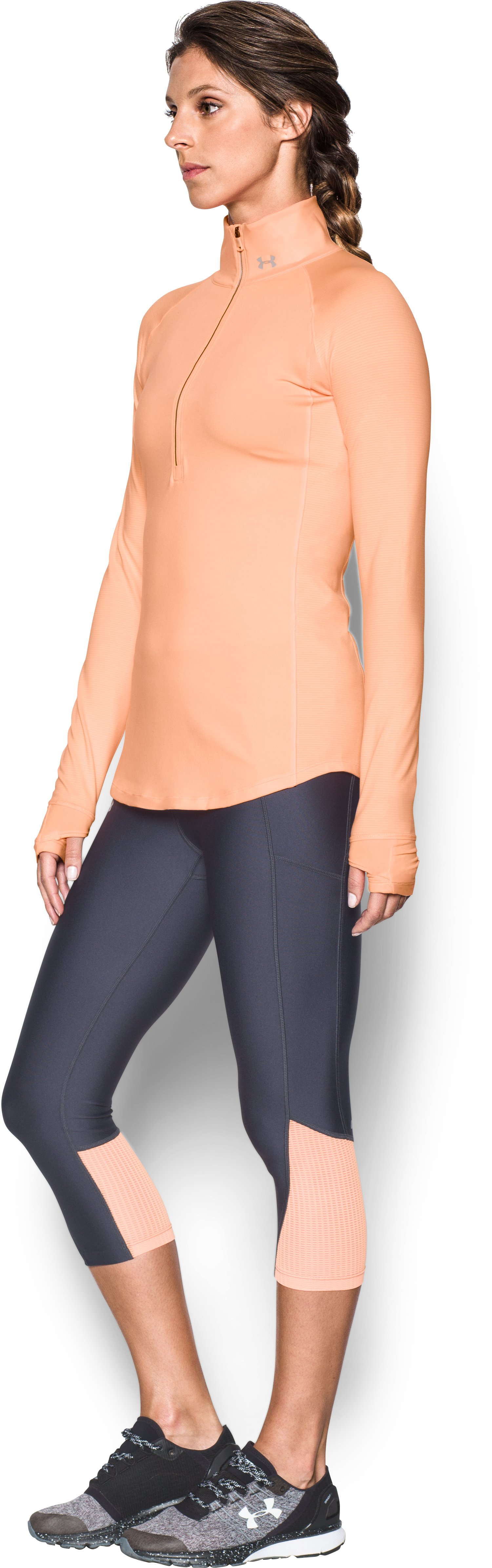 Women's UA Threadborne Run True 1/2 Zip, PLAYFUL PEACH,