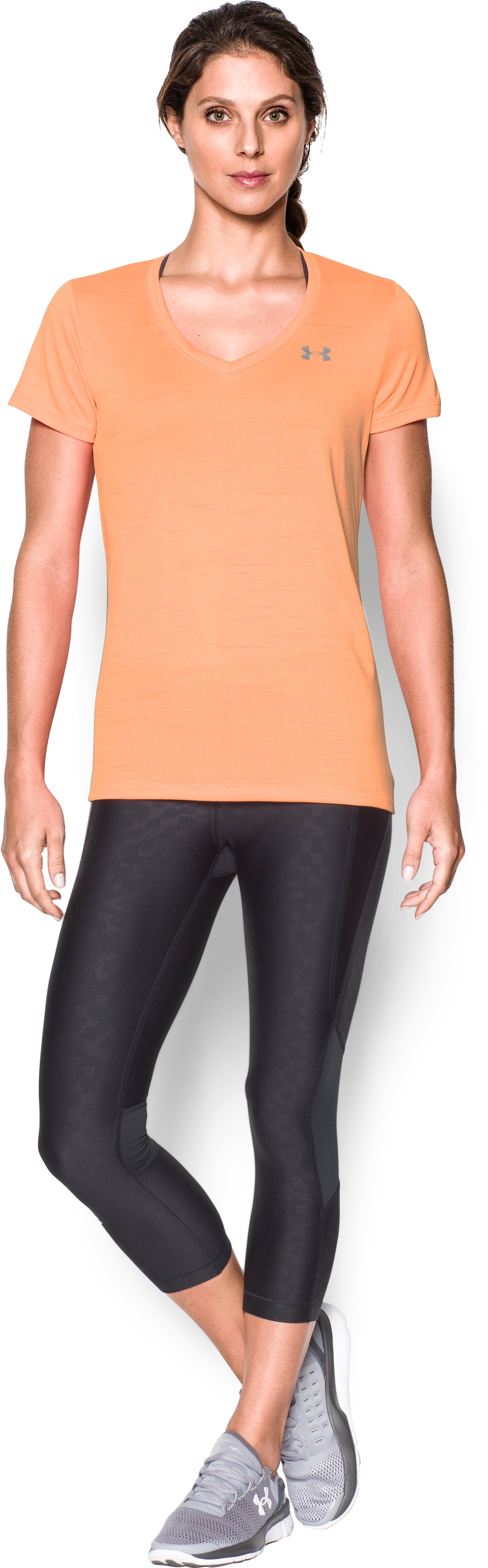 Women's UA Tech™ Tiger V-Neck, Afterglow, Front