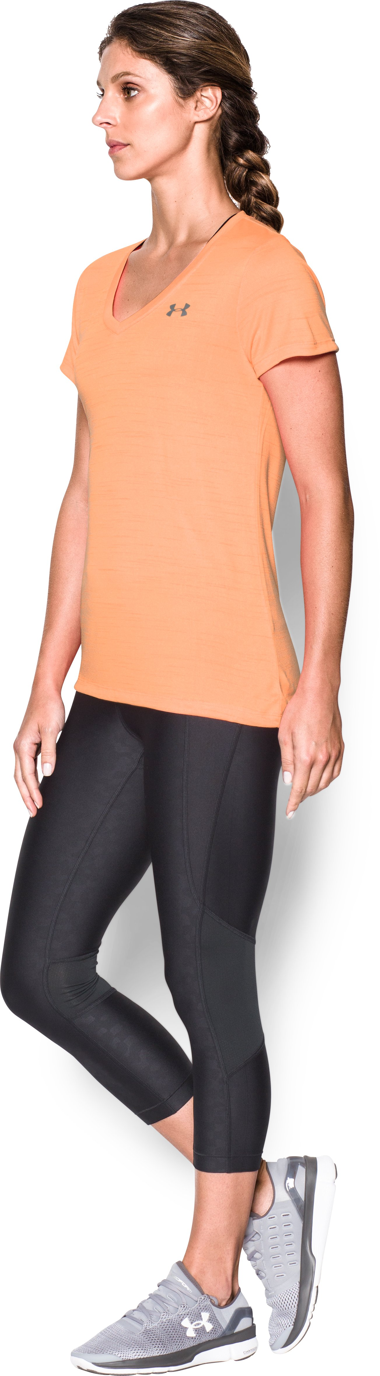 Women's UA Tech™ Tiger V-Neck, Afterglow, undefined