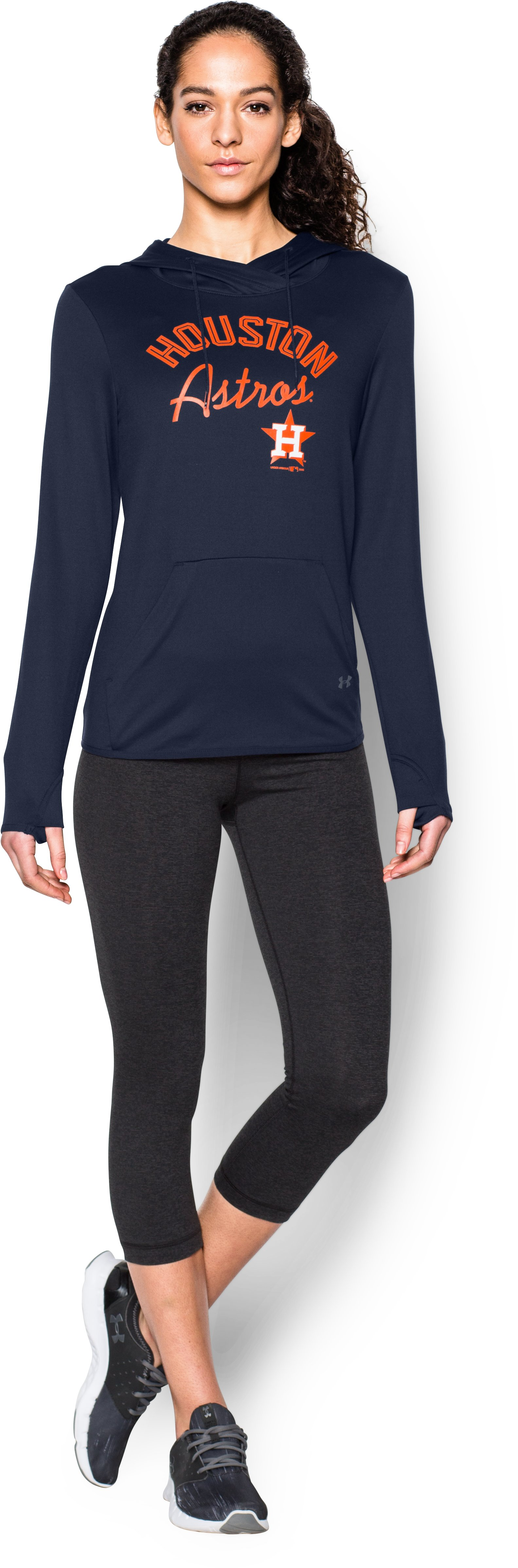Women's Houston Astros UA French Terry Hoodie, Midnight Navy, Front