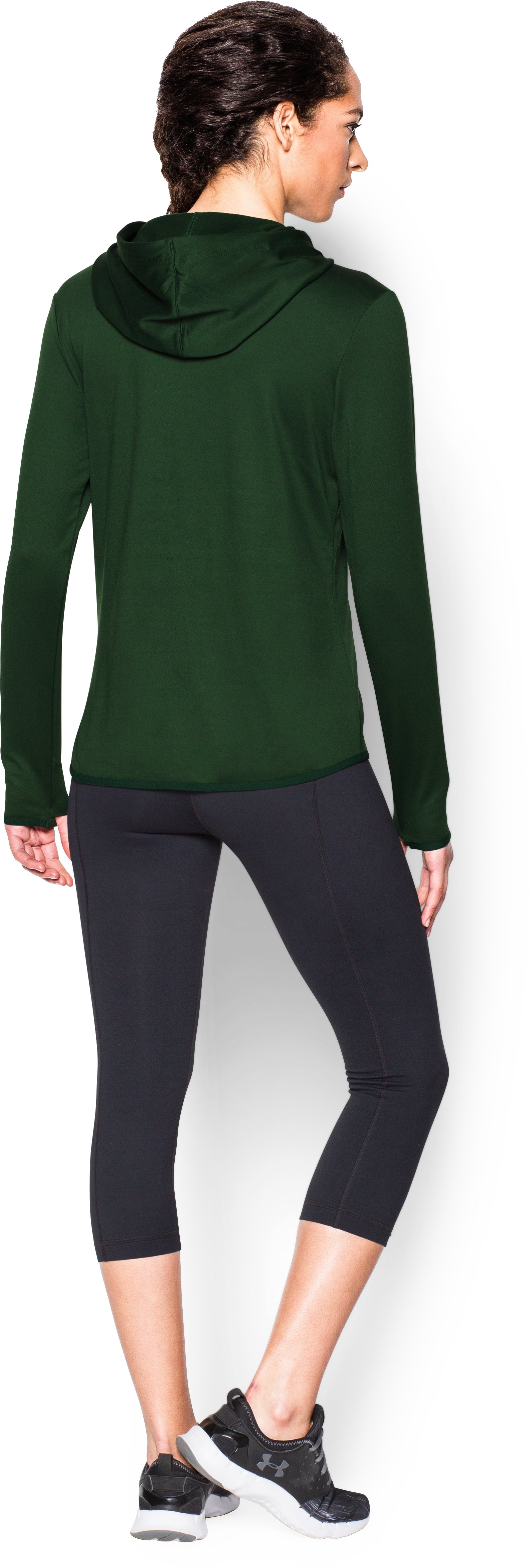 Women's Oakland Athletics UA French Terry Hoodie, Forest Green, Back