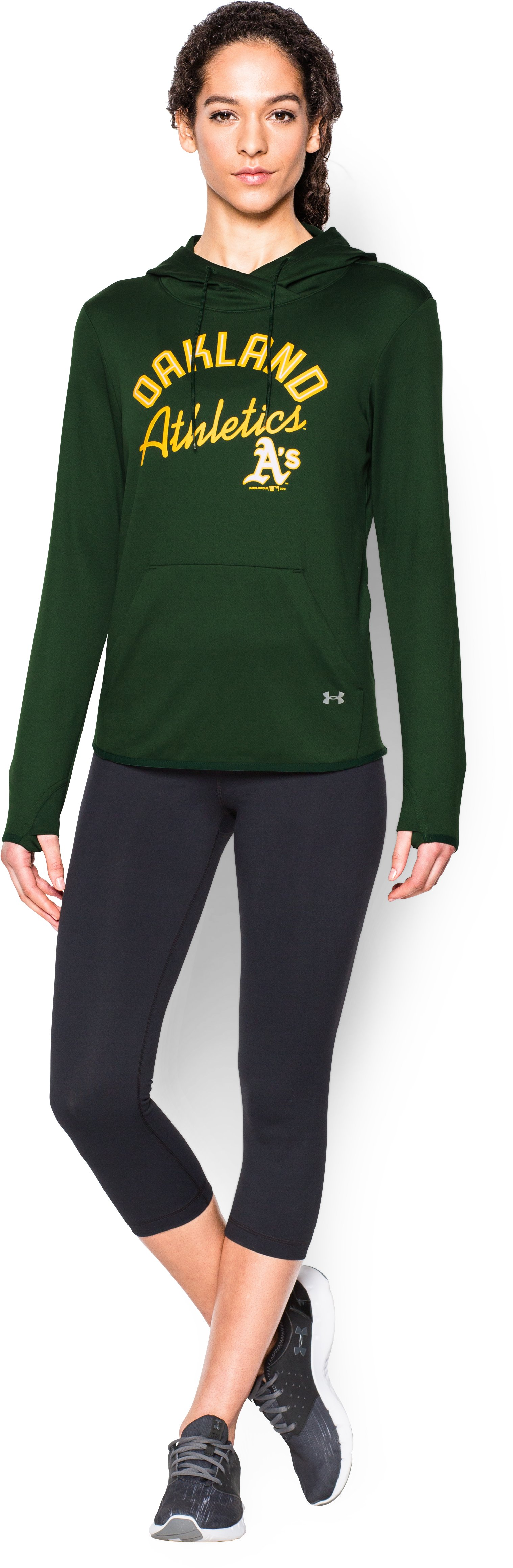 Women's Oakland Athletics UA French Terry Hoodie, Forest Green, Front