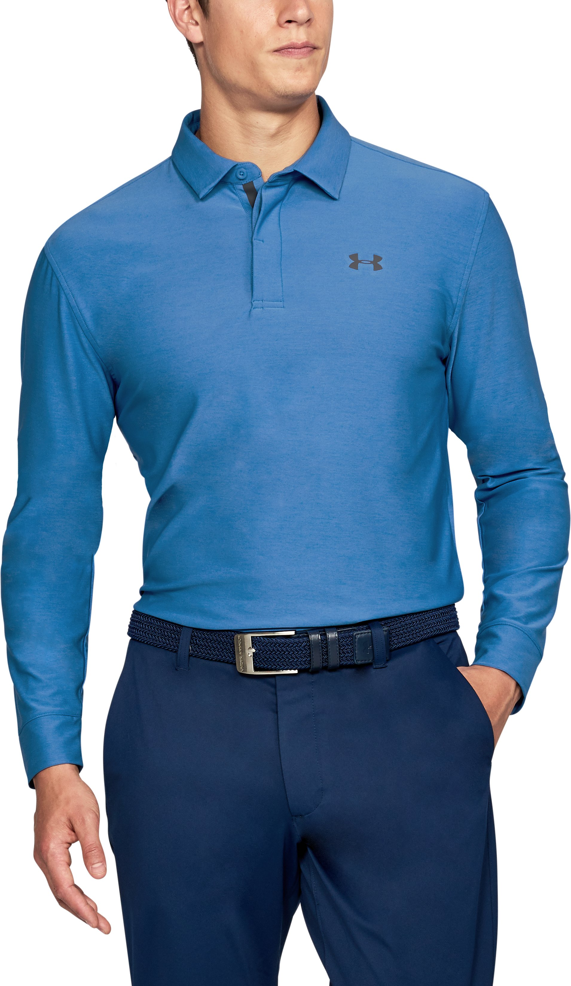 Men's UA Playoff Long Sleeve Polo, Mediterranean