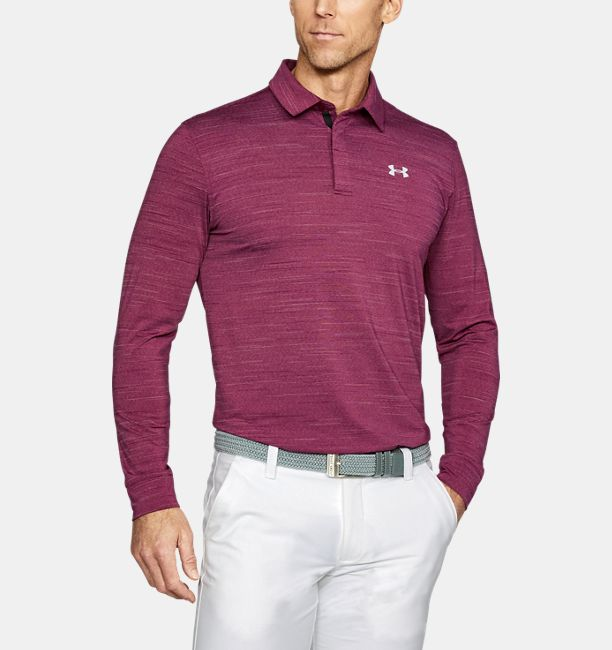 Men 39 s ua playoff long sleeve polo under armour us for Longer length mens polo shirts