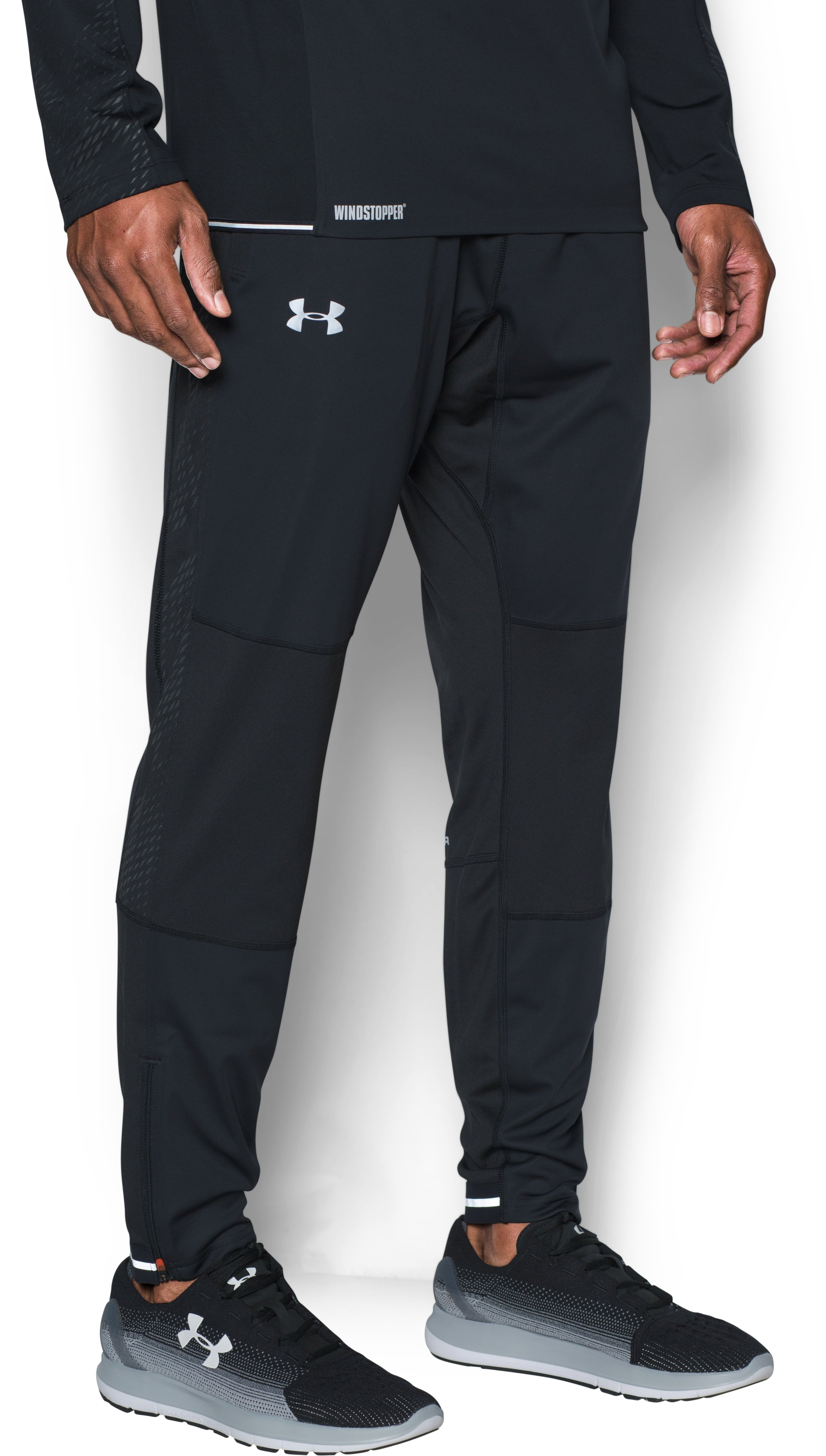 Men's UA No Breaks WINDSTOPPER® Run Pants, Black , undefined