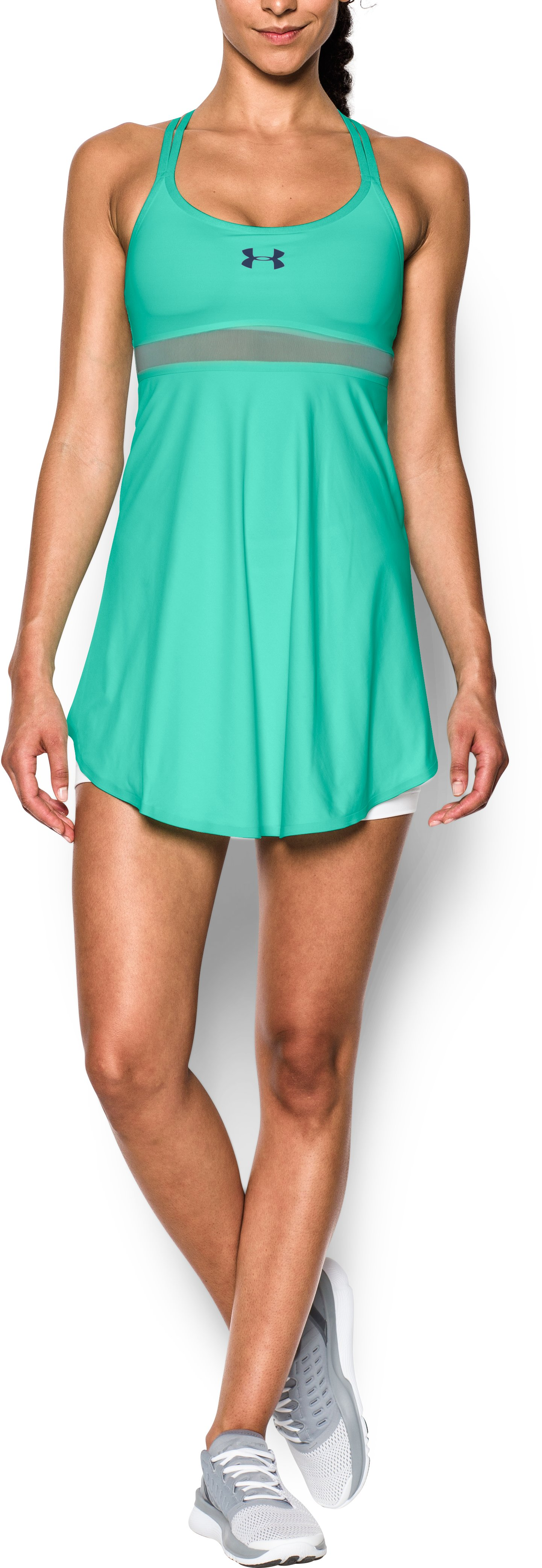 Women's UA Tennis Strappy Back Dress, CRYSTAL, Front