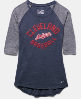 Girls' Cleveland Indians UA Tri-Blend ¾ Sleeve