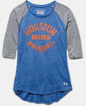 Girls' Houston Astros UA Tri-Blend ¾ Sleeve