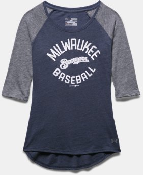 Girls' Milwaukee Brewers UA Tri-Blend ¾ Sleeve