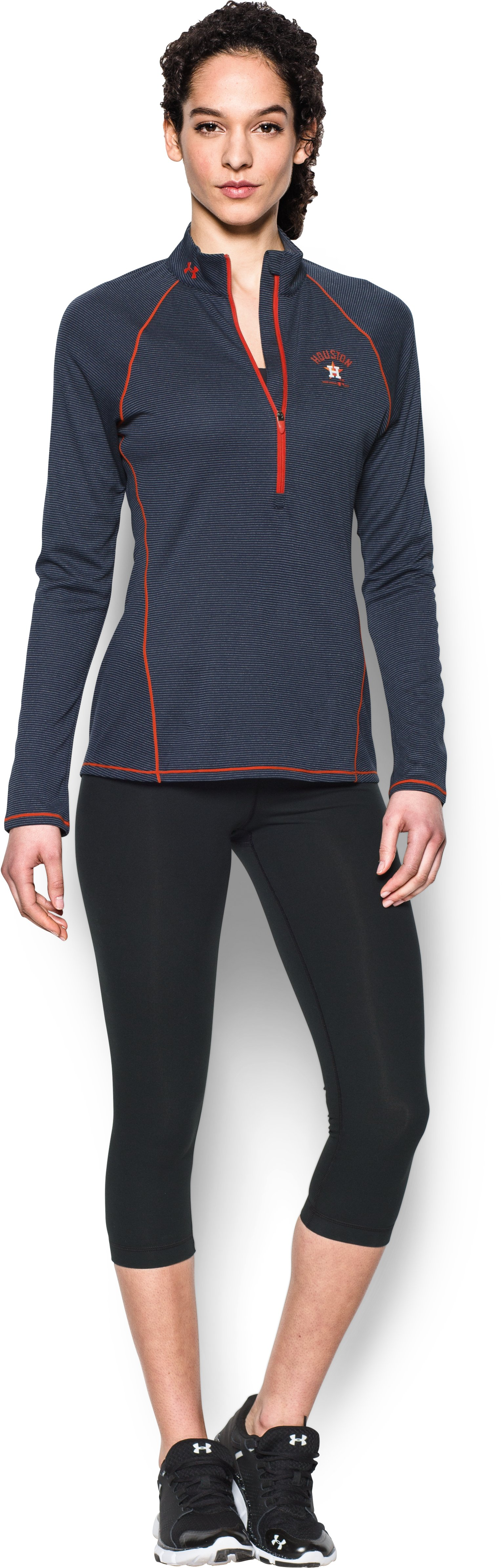Women's Houston Astros UA Tech™ 1/2 Zip, Midnight Navy, Front