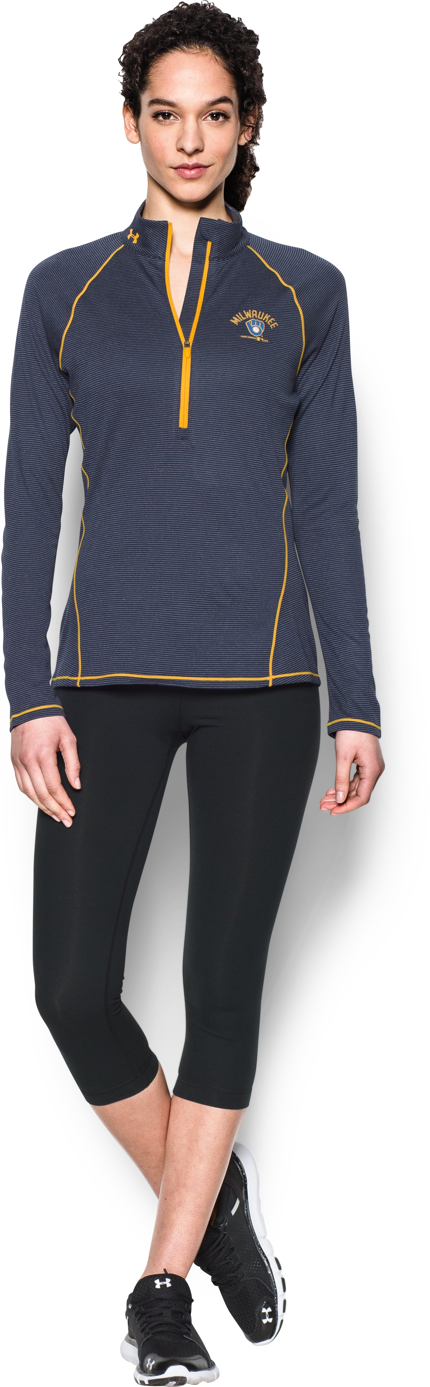 Women's Milwaukee Brewers UA Tech™ 1/2 Zip, Midnight Navy