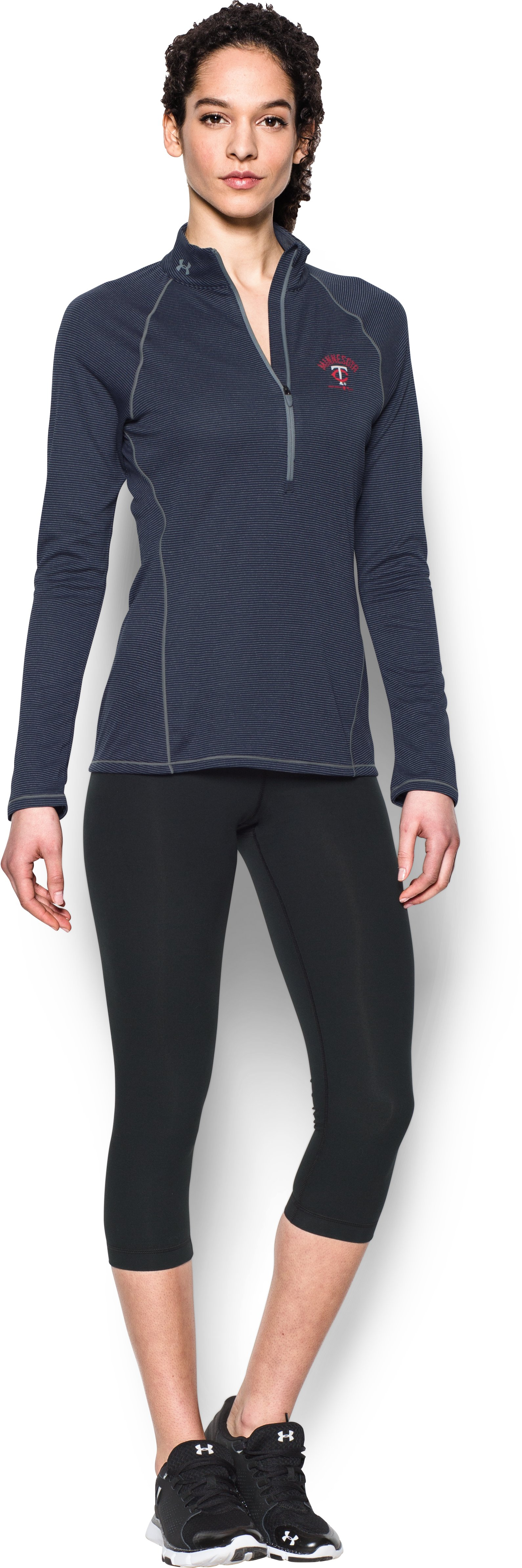 Women's Minnesota Twins UA Tech™ 1/2 Zip, Midnight Navy, zoomed image