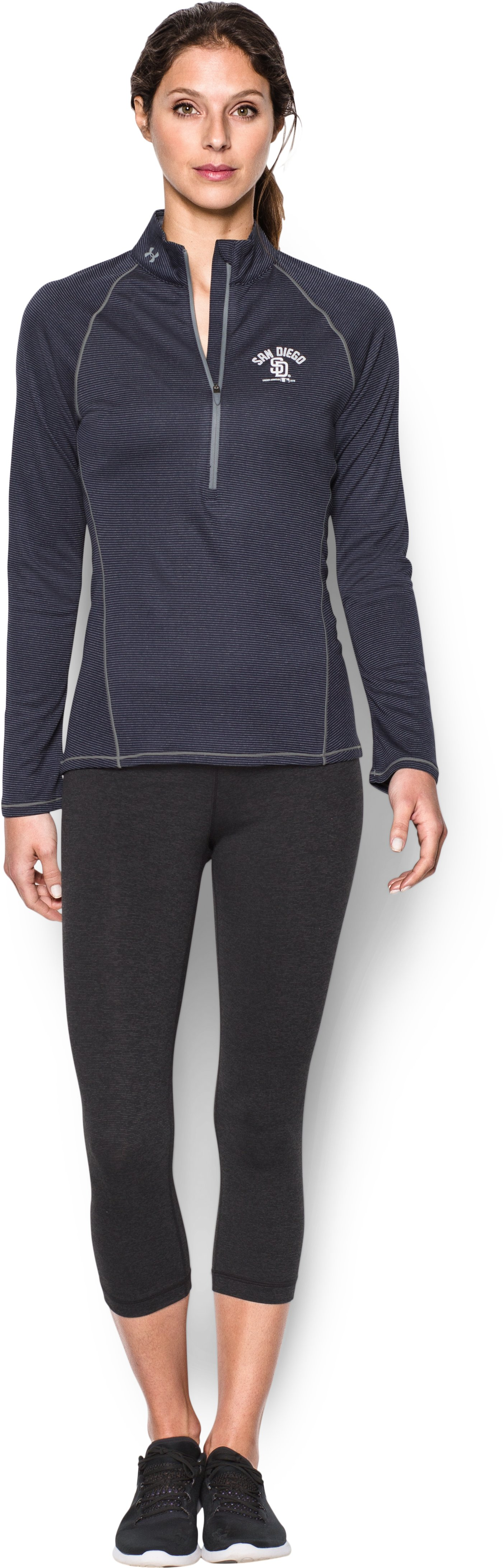 Women's San Diego Padres UA Tech™ 1/2 Zip, Midnight Navy, zoomed image