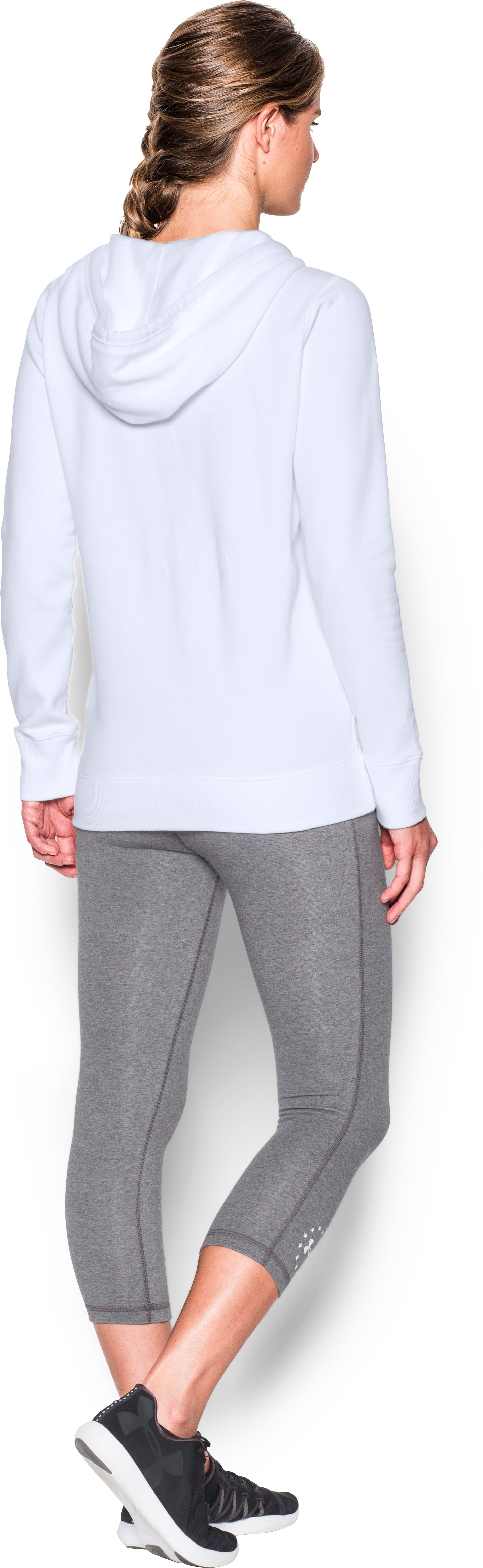 Women's UA Freedom Logo Favorite Fleece Hoodie, White, Back