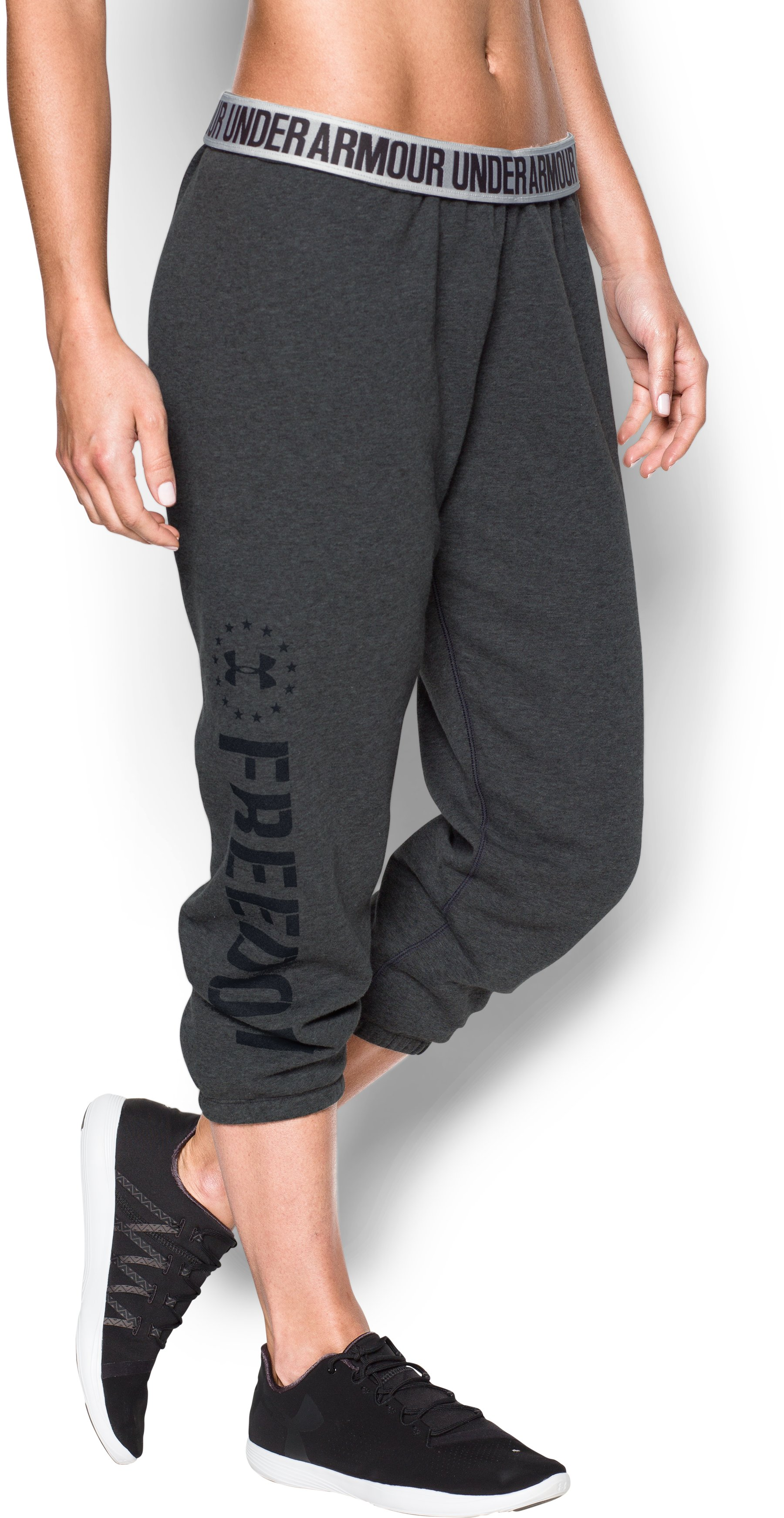 Women's UA Freedom Favorite Fleece Capris, Carbon Heather, zoomed image