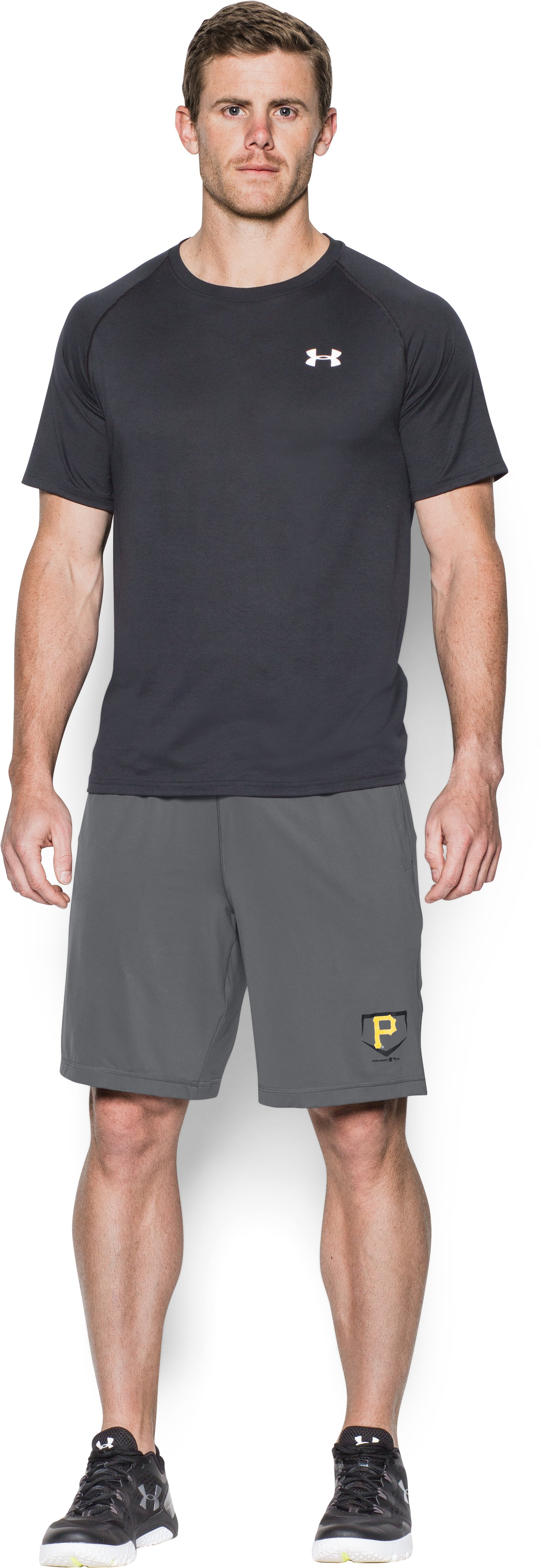 Men's Pittsburgh Pirates Raid Shorts, Graphite, Front