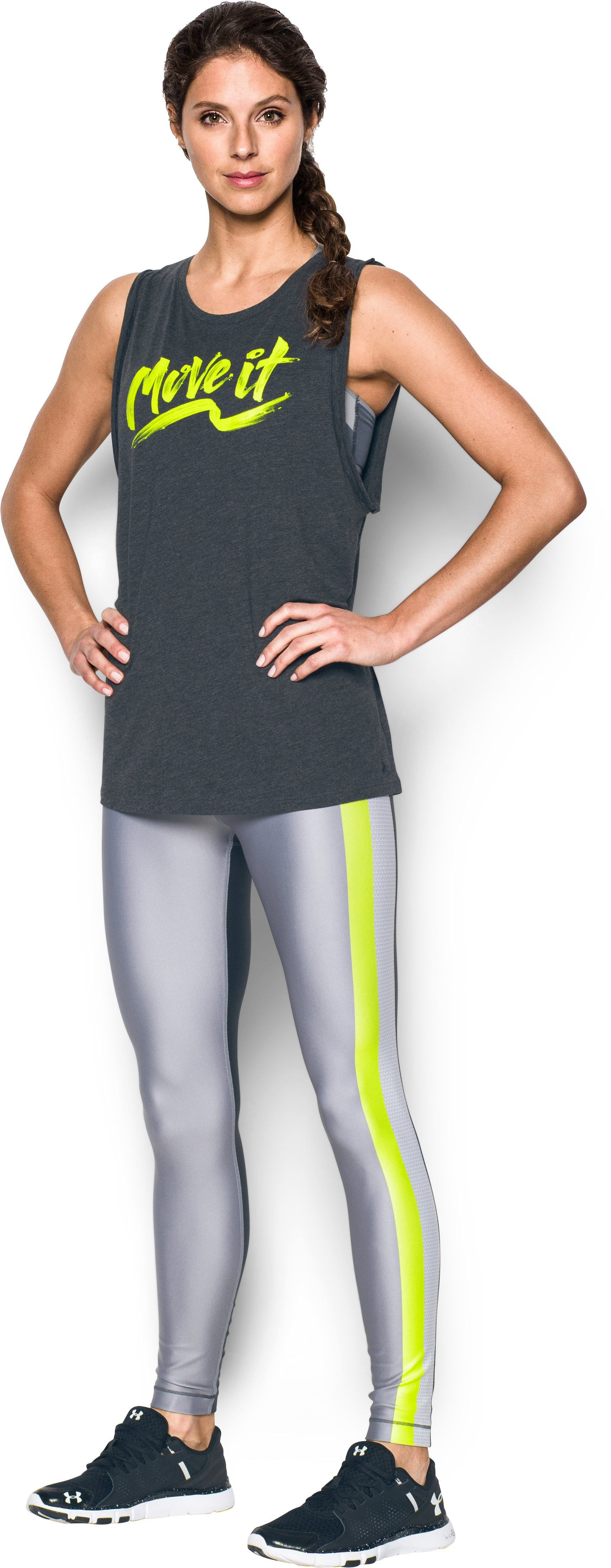 Women's UA HeatGear® Armour Engineered Legging , Carbon Heather, Front