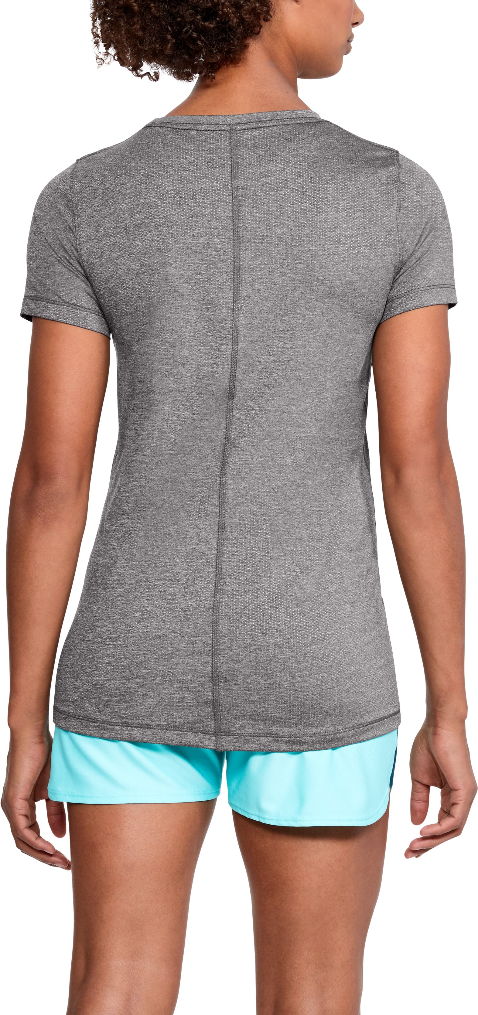 Women's UA HeatGear® Armour Short Sleeve, CHARCOAL LIGHT HEATHER,
