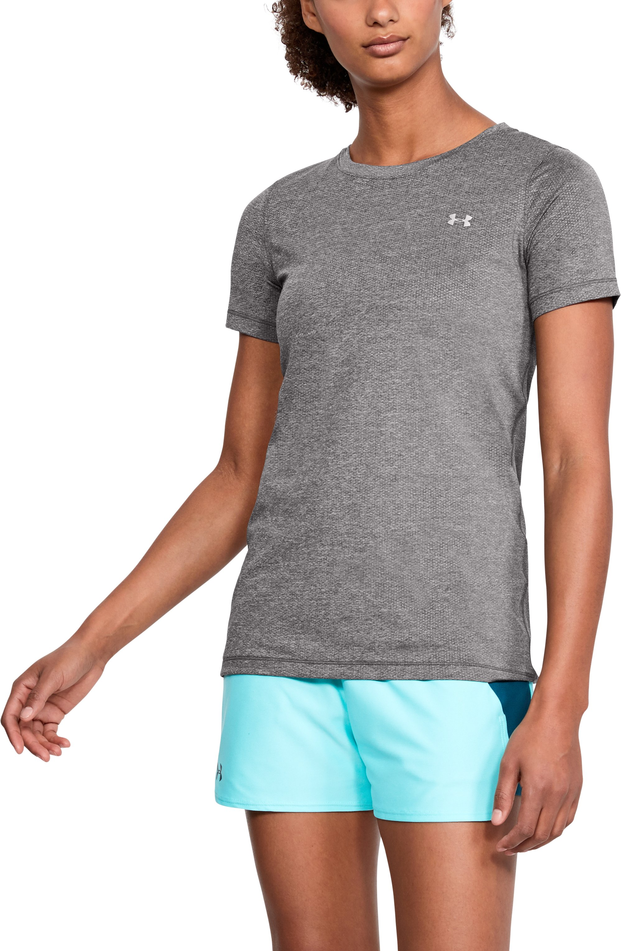 Women's UA HeatGear® Armour Short Sleeve, CHARCOAL LIGHT HEATHER