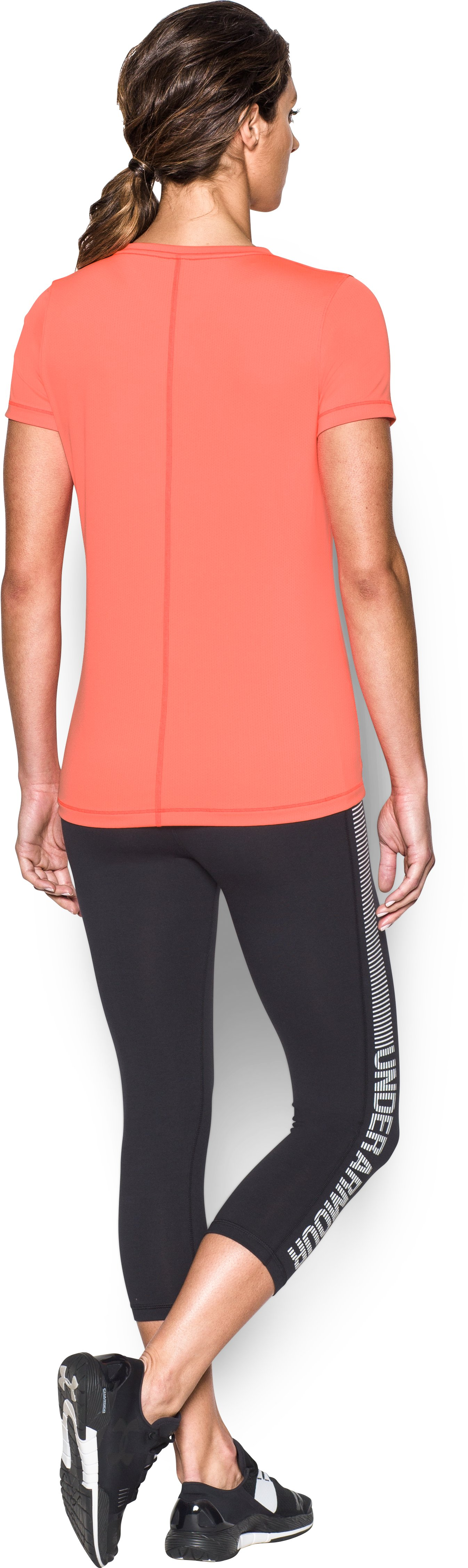 Women's UA HeatGear® Armour Short Sleeve, LONDON ORANGE, Back