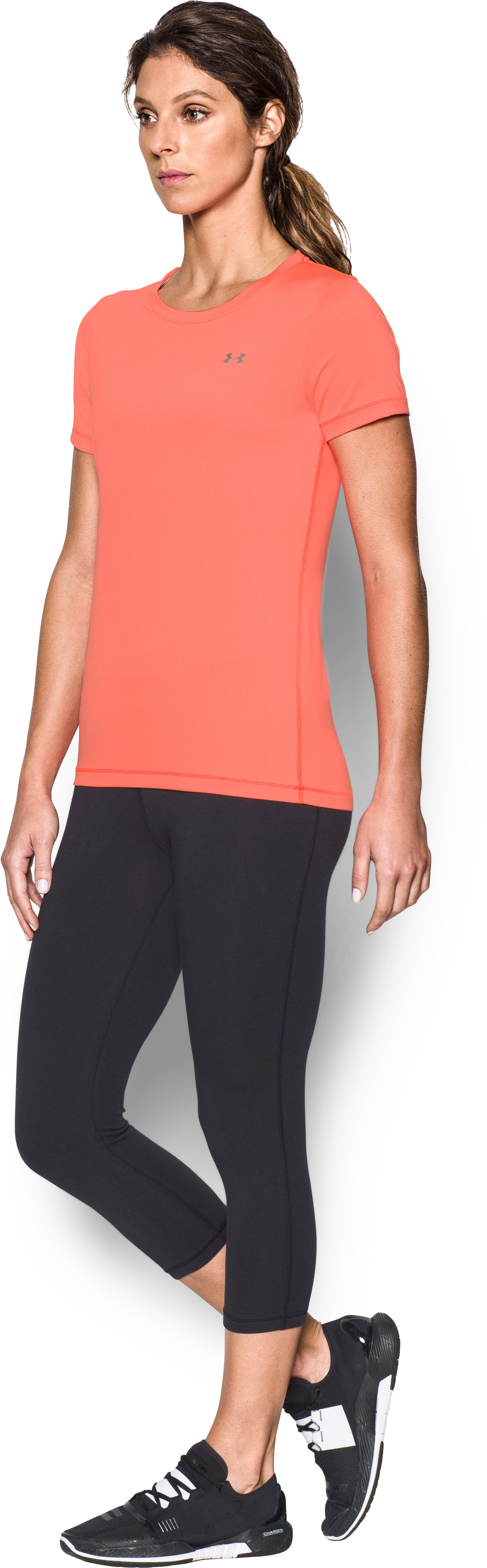 Women's UA HeatGear® Armour Short Sleeve, LONDON ORANGE