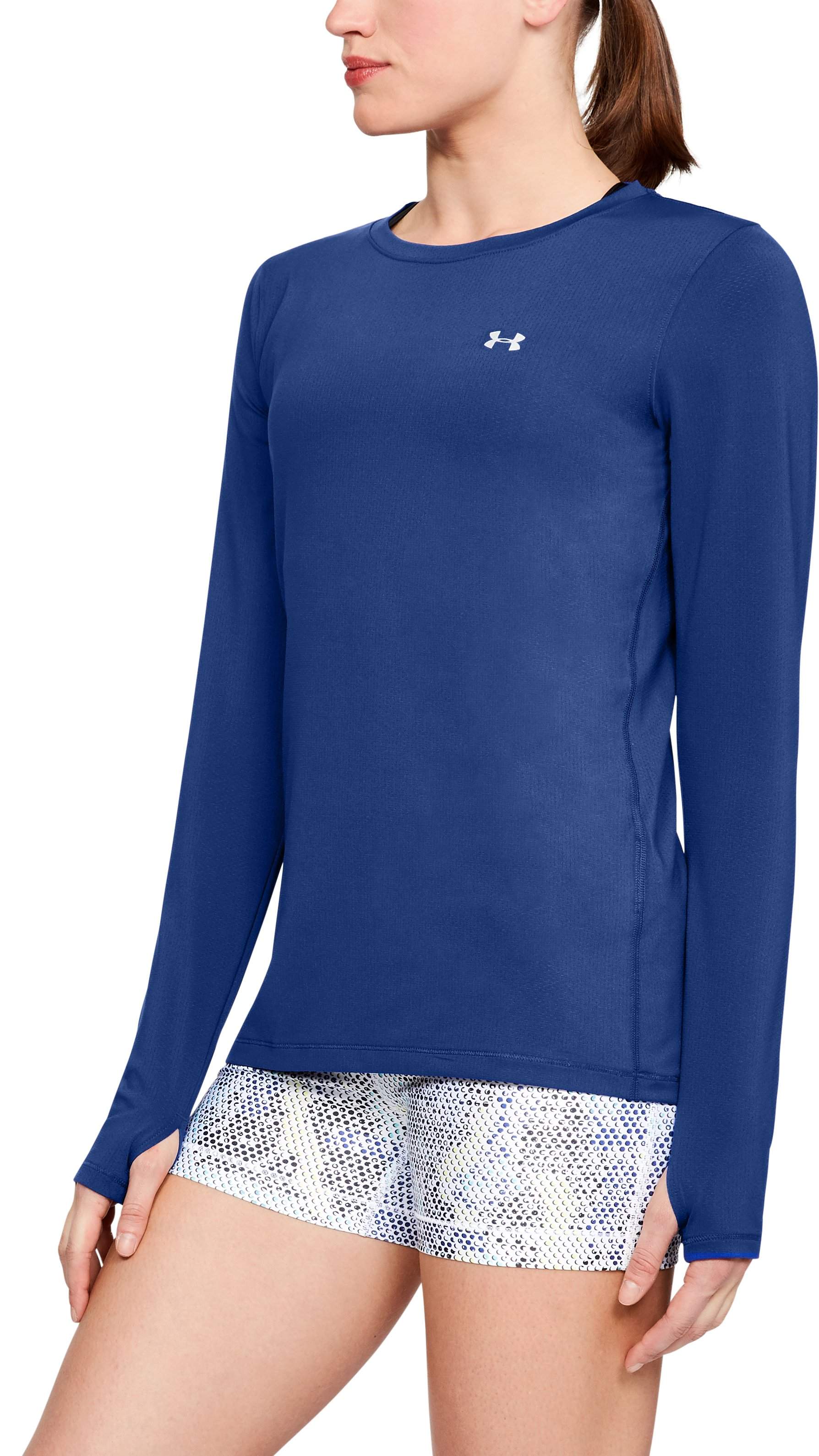 Women's UA HeatGear® Armour Long Sleeve, FORMATION BLUE