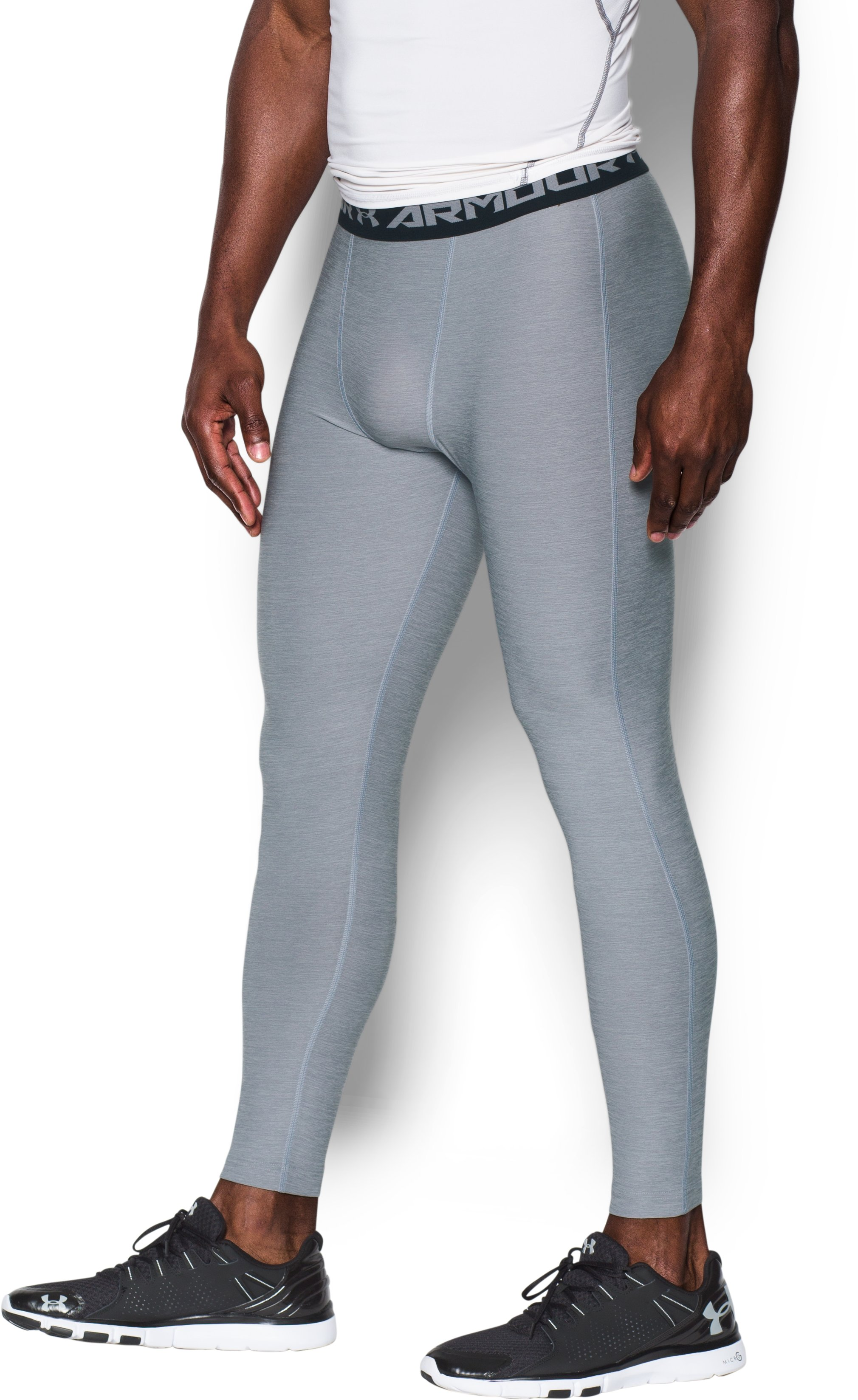 Men's UA HeatGear® Armour Twist Compression Leggings, Steel,