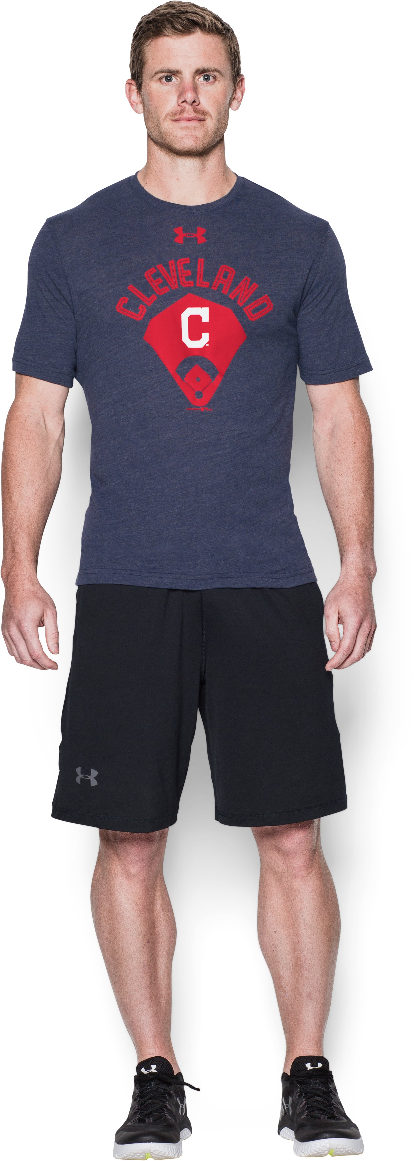 Men's Cleveland Indians Vintage Tri-blend, Midnight Navy, Front