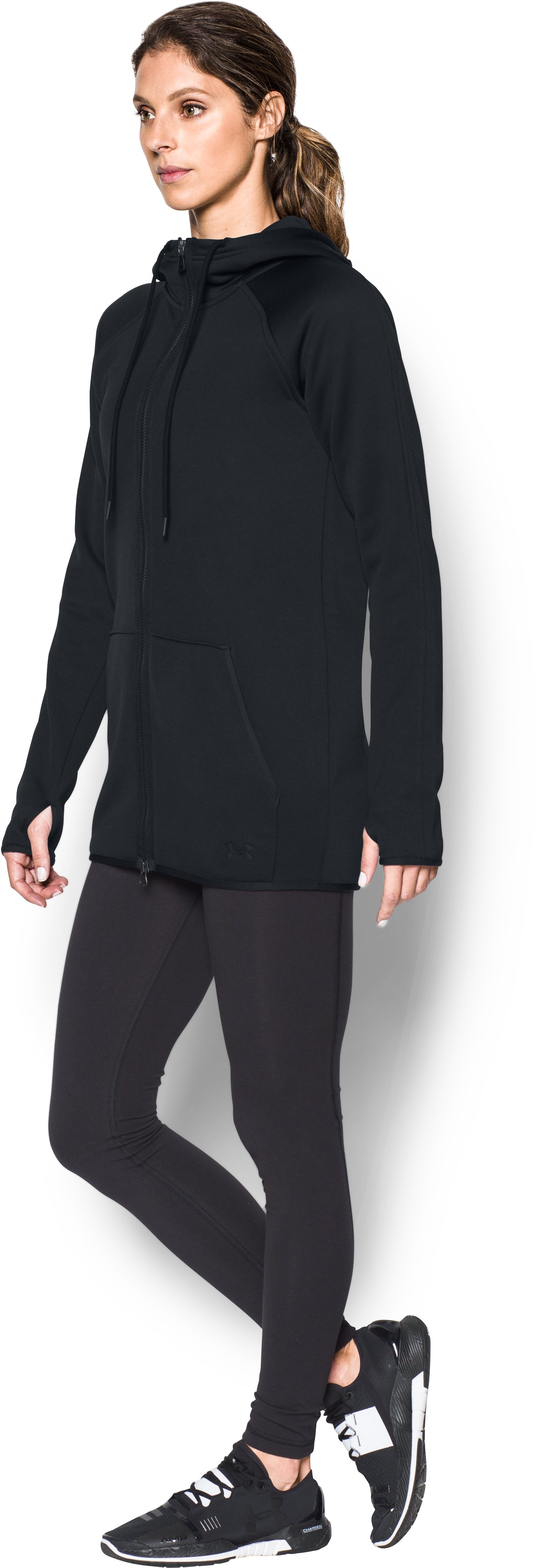 Women's  UA Storm Armour Fleece® Long Full Zip, Black , undefined